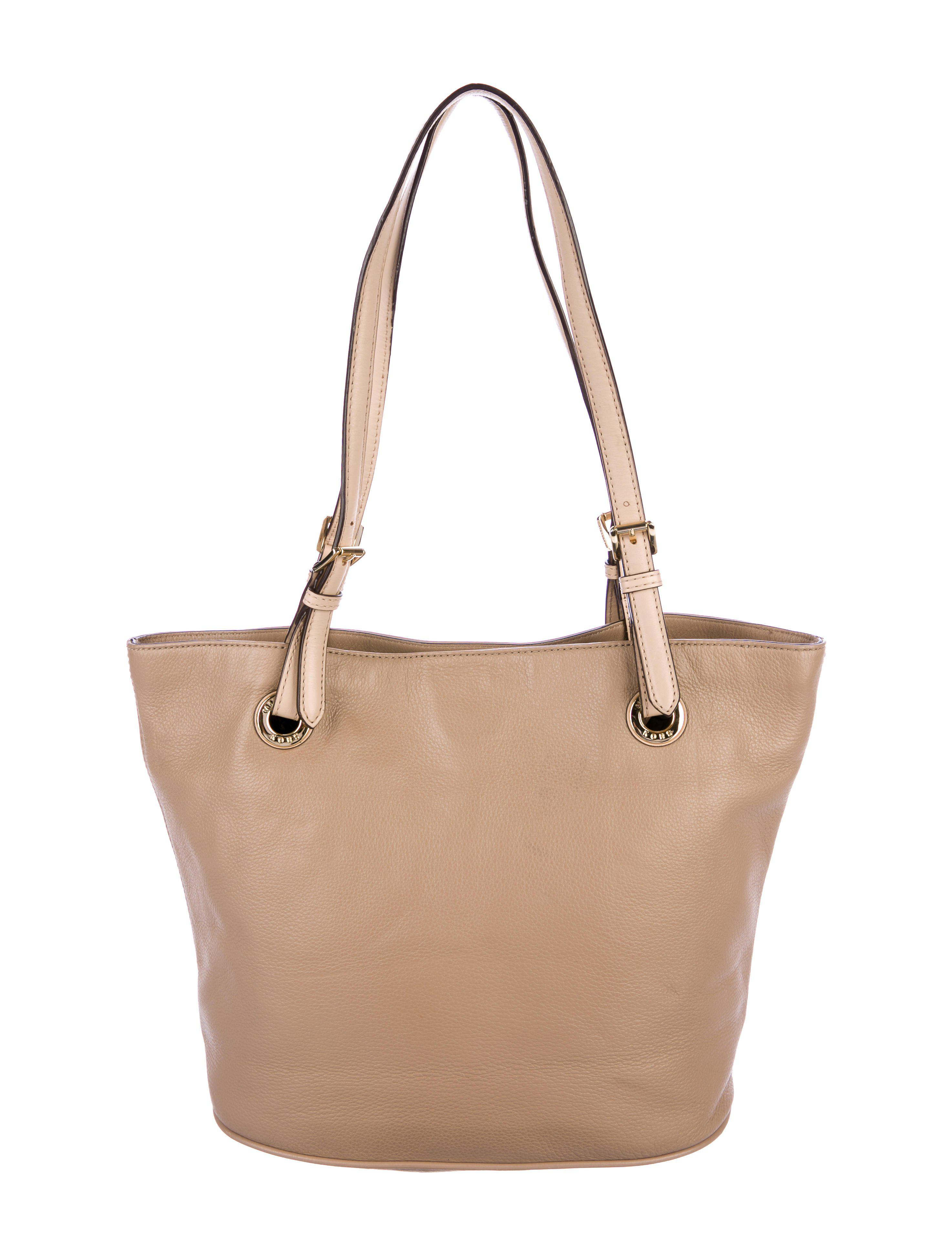d7513a4cbff Lyst - Michael Michael Kors Michael Kors Grained Leather Tote Tan in ...
