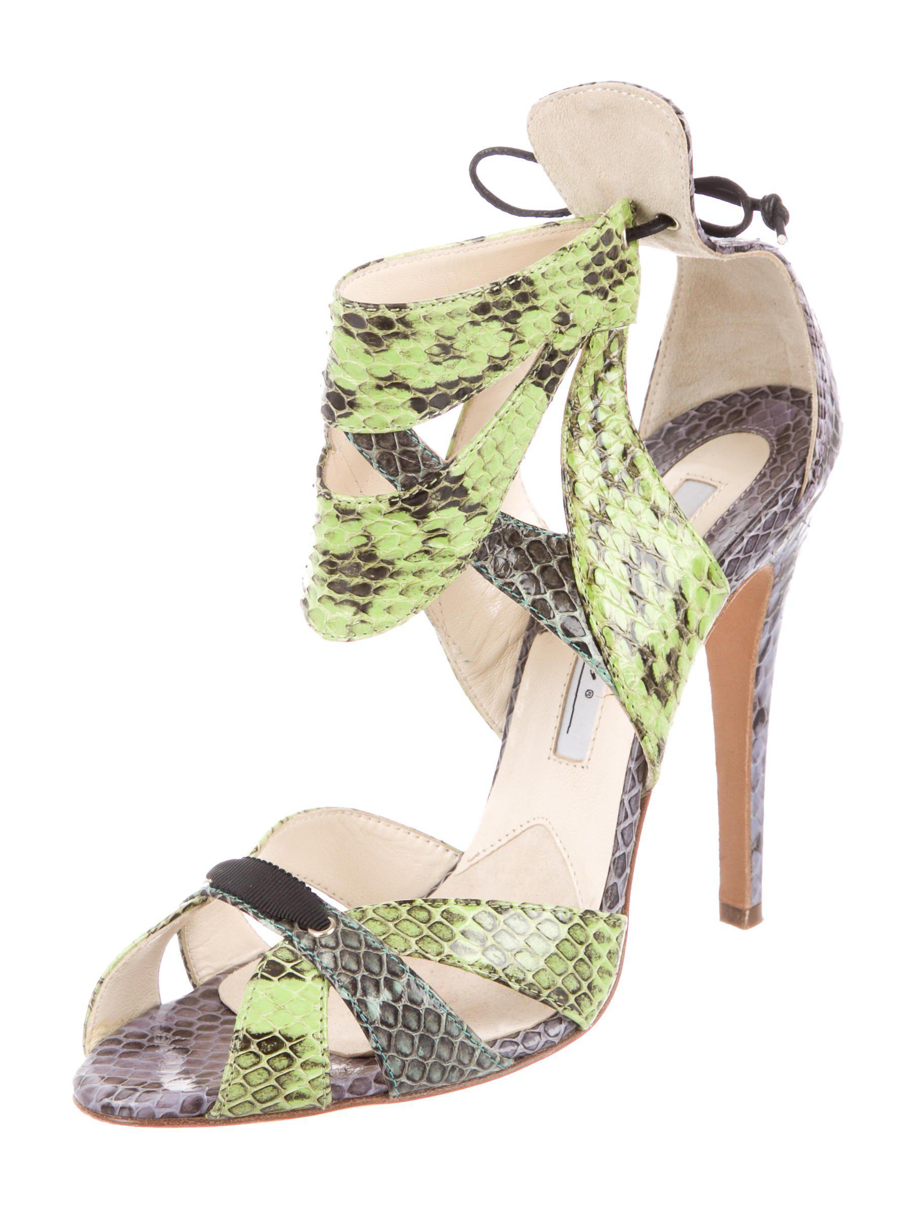 Brian Atwood Snakeskin Cutout Sandals sale footaction low cost for sale 66eJFA2