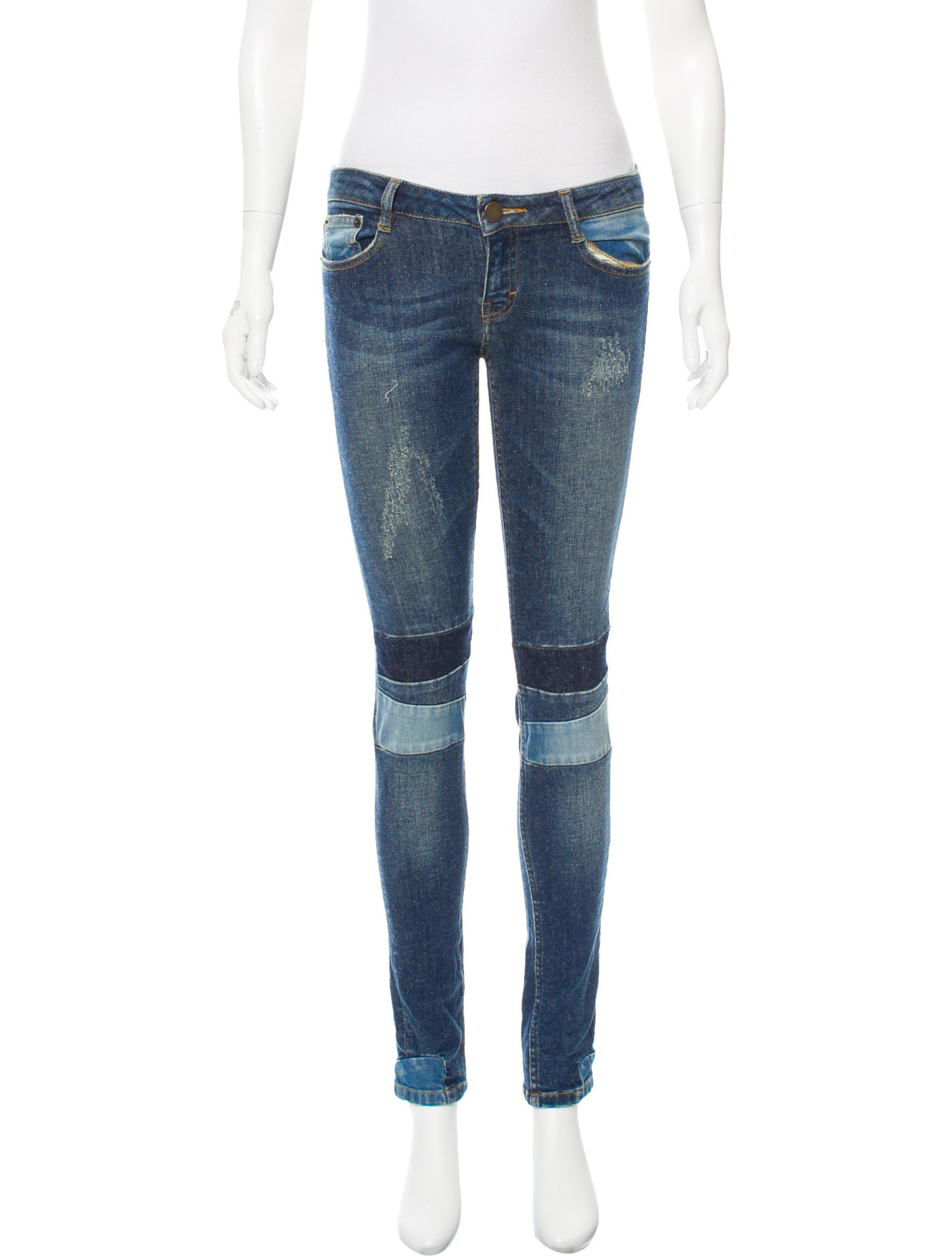 76a3599395a7 Lyst - Maje Distressed Low-rise Jeans in Blue