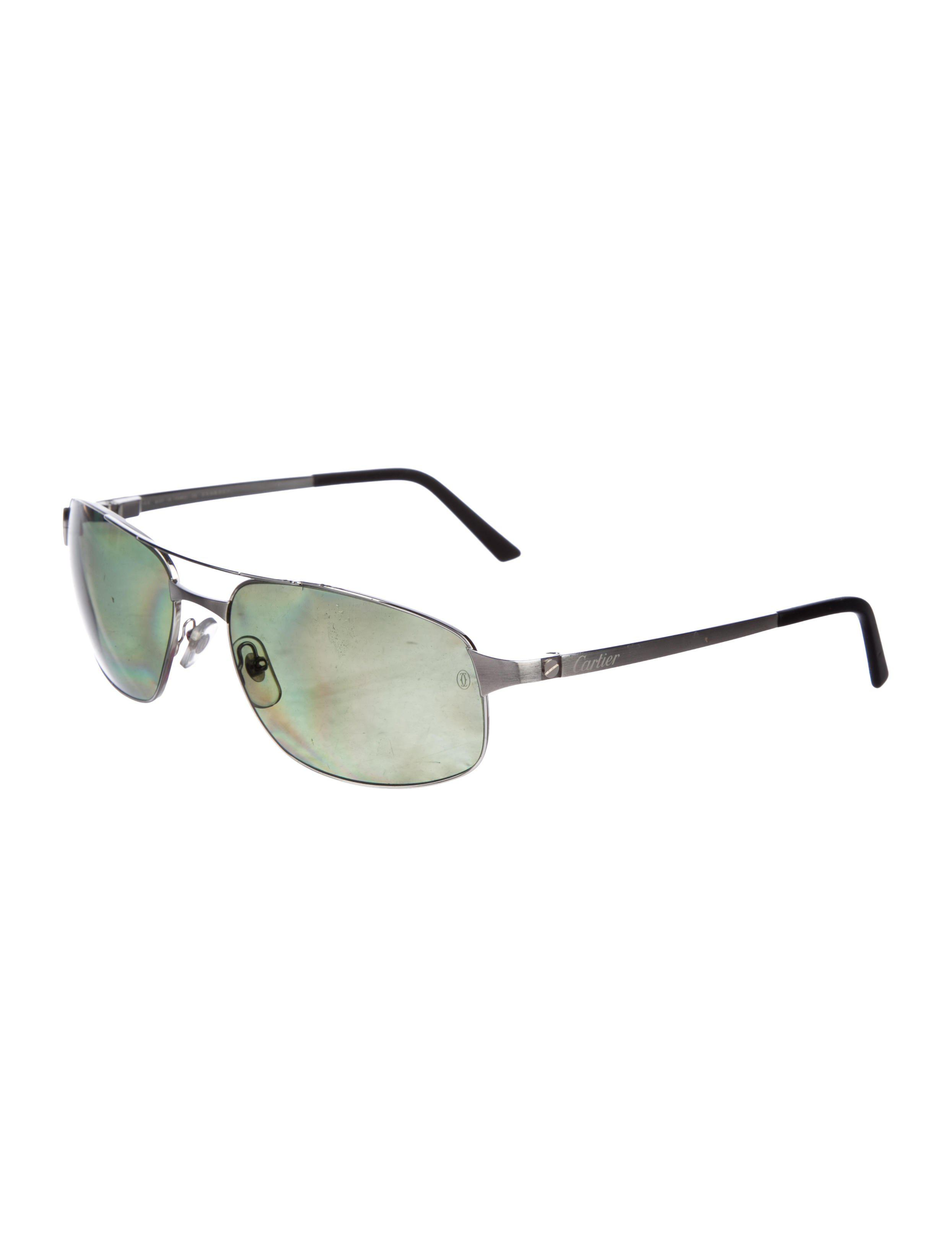 4c3324fd402 Lyst - Cartier Santos De Polarized Sunglasses Silver in Metallic