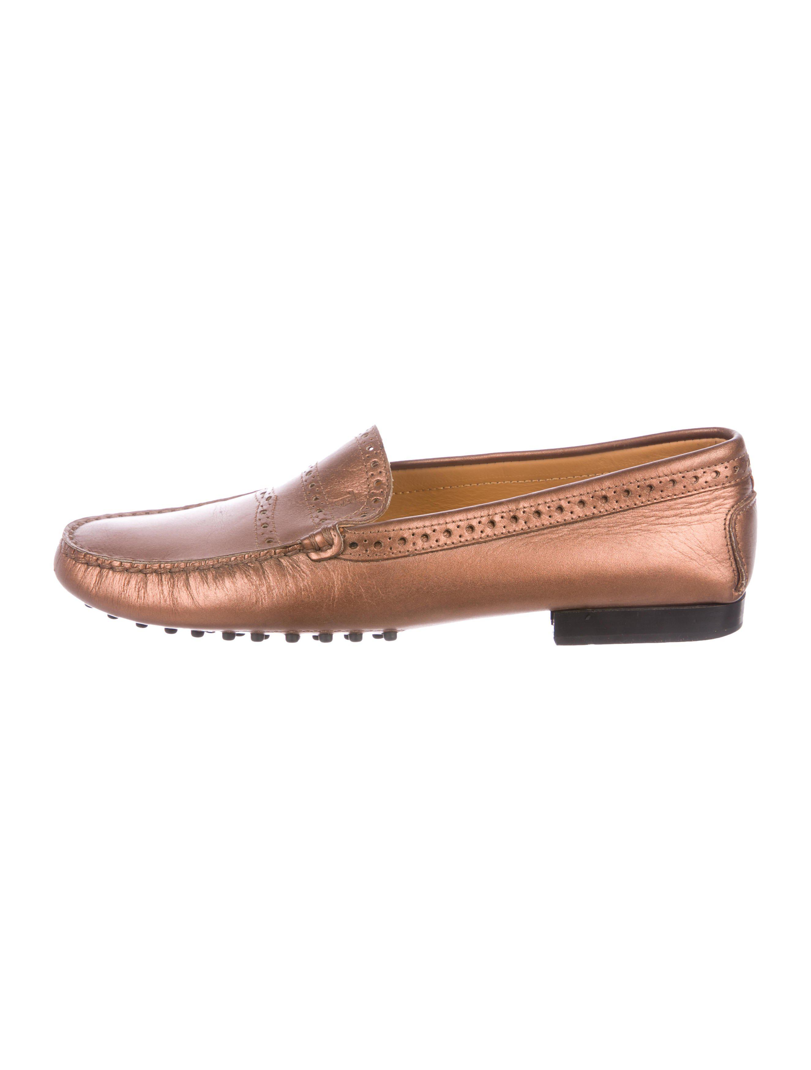 big sale cheap price Tod's Metallic Round-Toe Loafers clearance classic 7TQvbzir