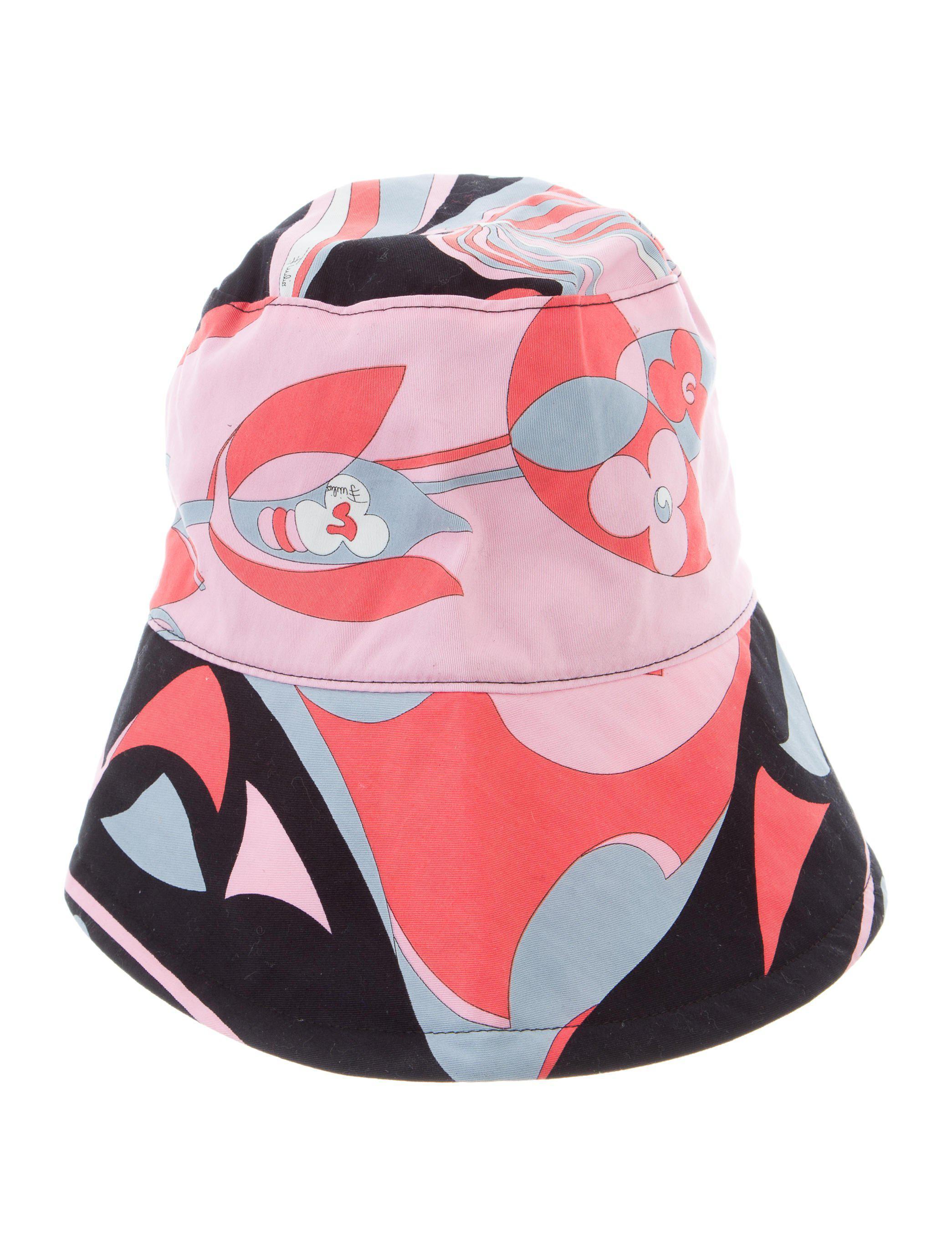023e5f7e2b44e Lyst - Emilio Pucci Printed Wide-brim Hat in Pink