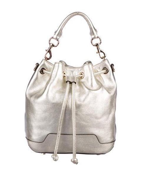 d359dca74827 Lyst - Rebecca Minkoff Fiona Leather Bucket Bag Gold in Metallic
