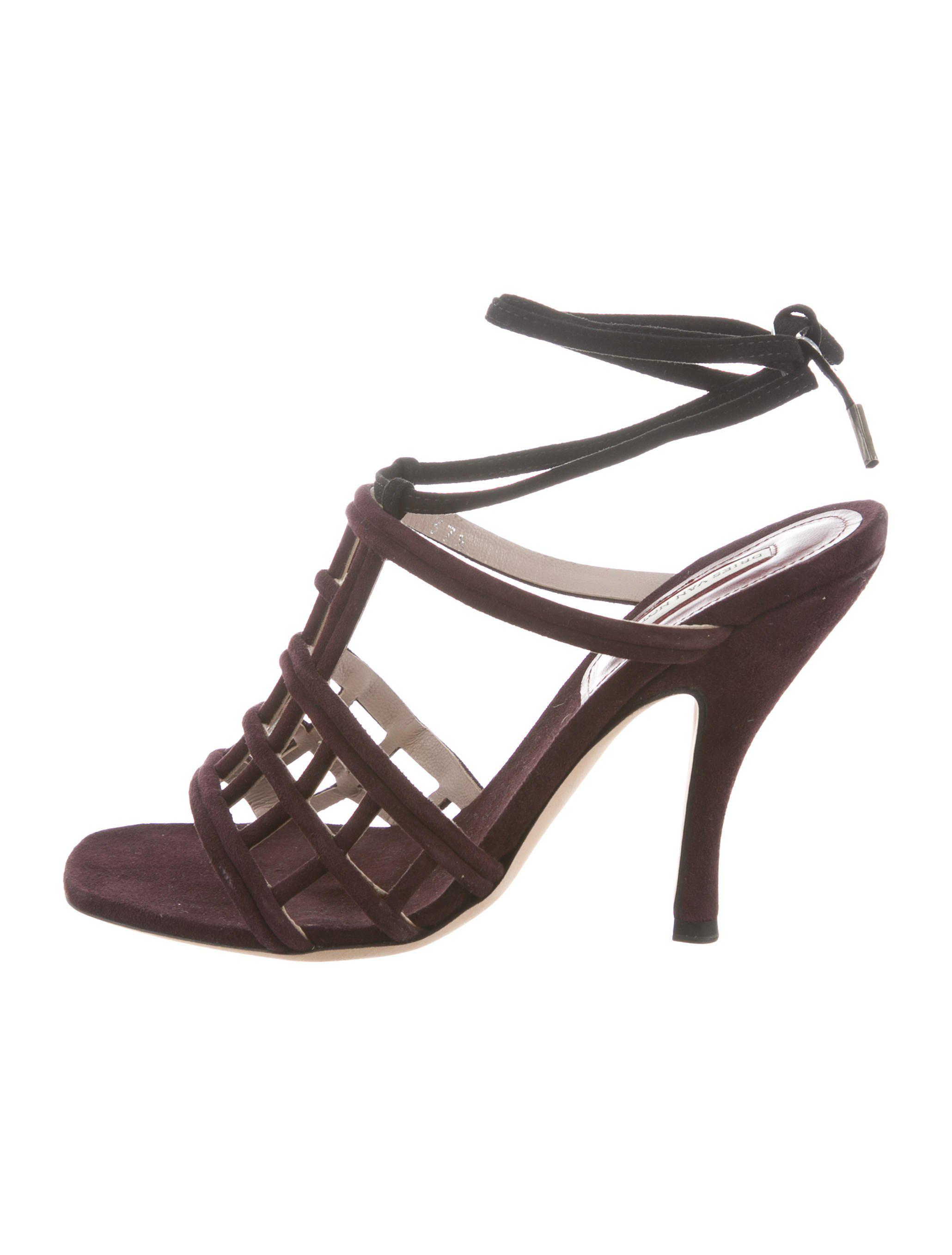 outlet affordable Dries Van Noten Suede Cutout Sandals discount codes really cheap QymUY0