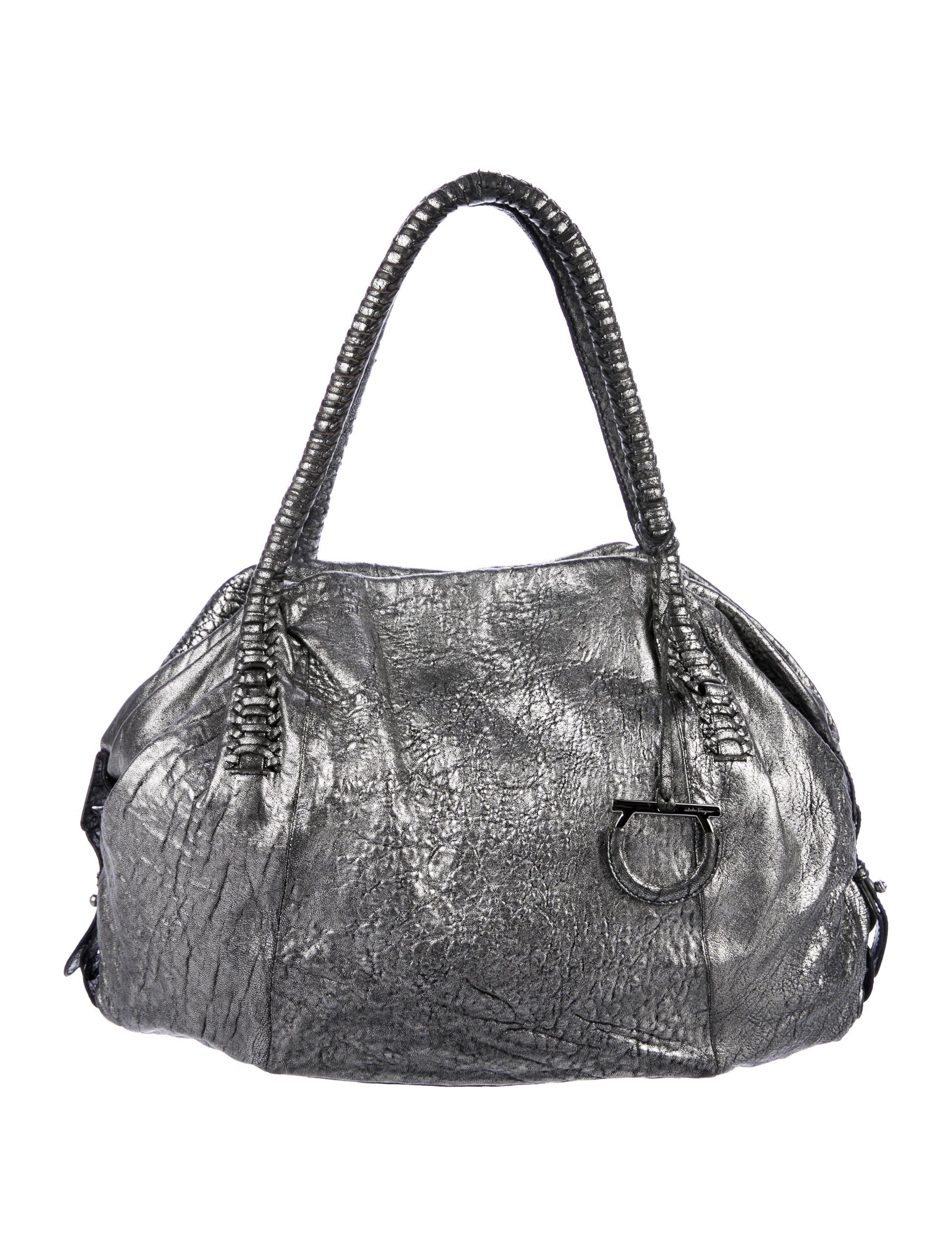 5066d34610a Lyst - Ferragamo Distressed Leather Tote in Metallic