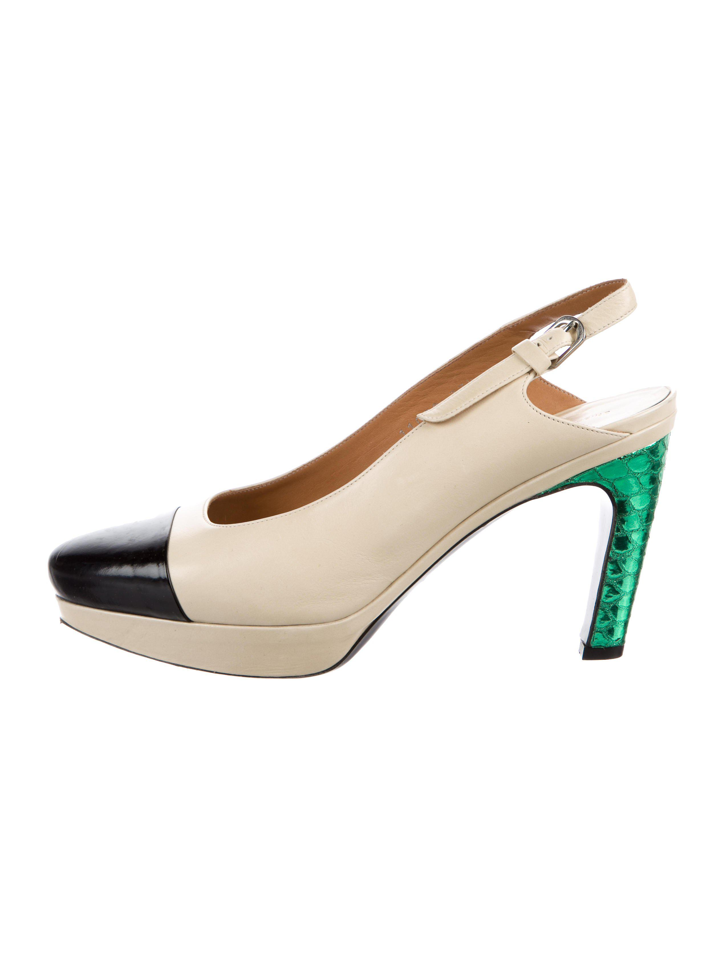 4f8bfd8ab6aebb Lyst - Dries Van Noten Leather Slingback Pumps Tan in Natural