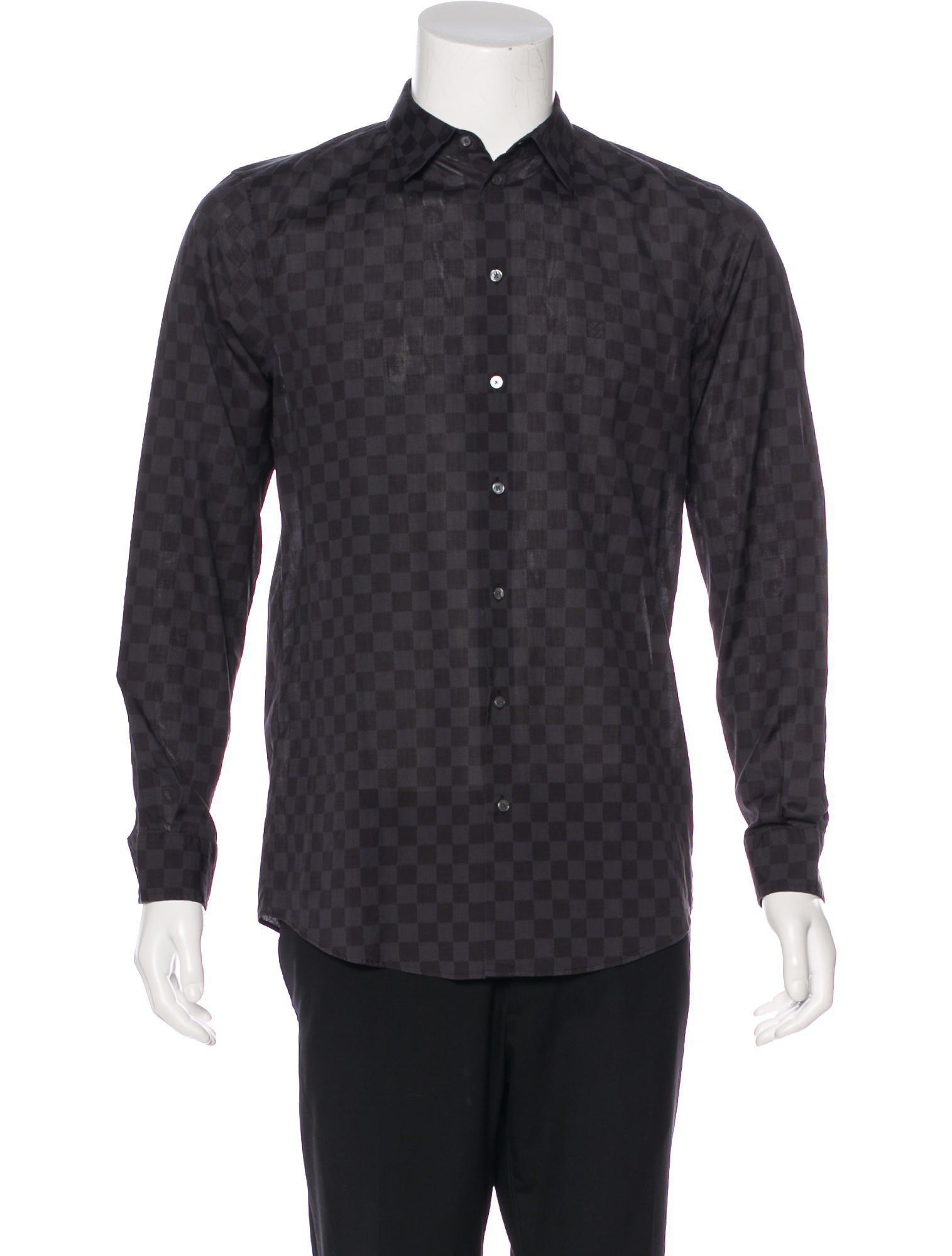 Lyst Louis Vuitton Damier Graphite Button Up Shirt Grey In Gray