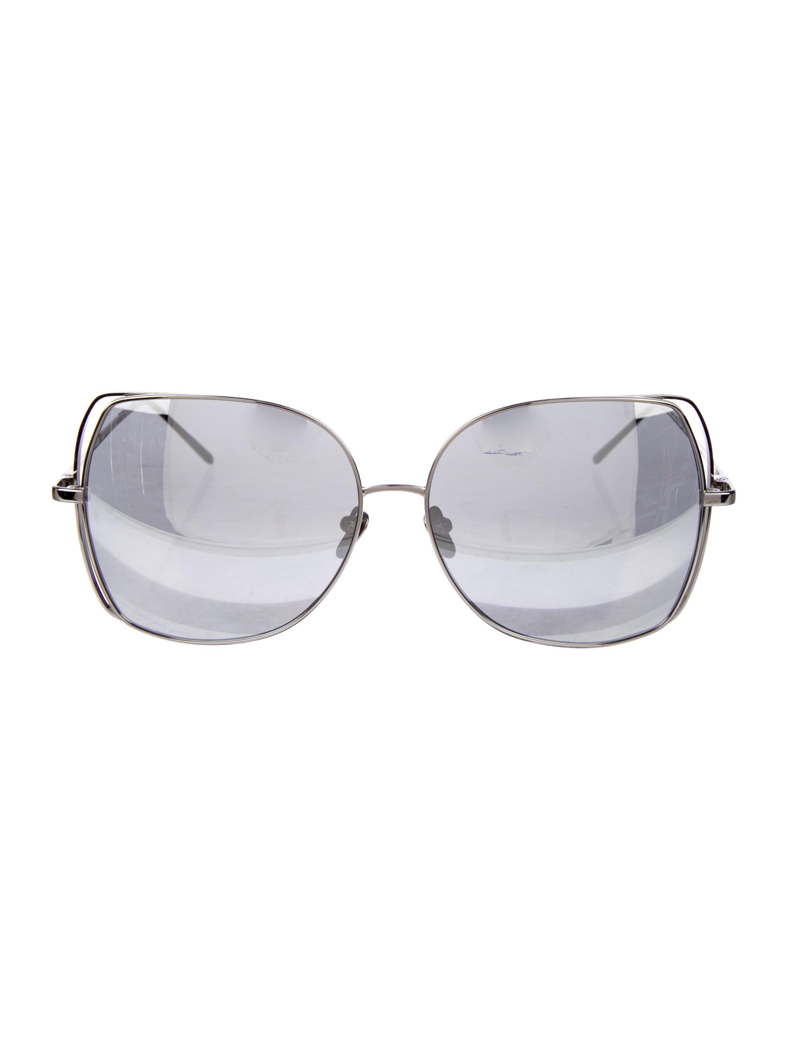 500047d95c95 Lyst - Linda Farrow White Gold-plated Sunglasses in Metallic