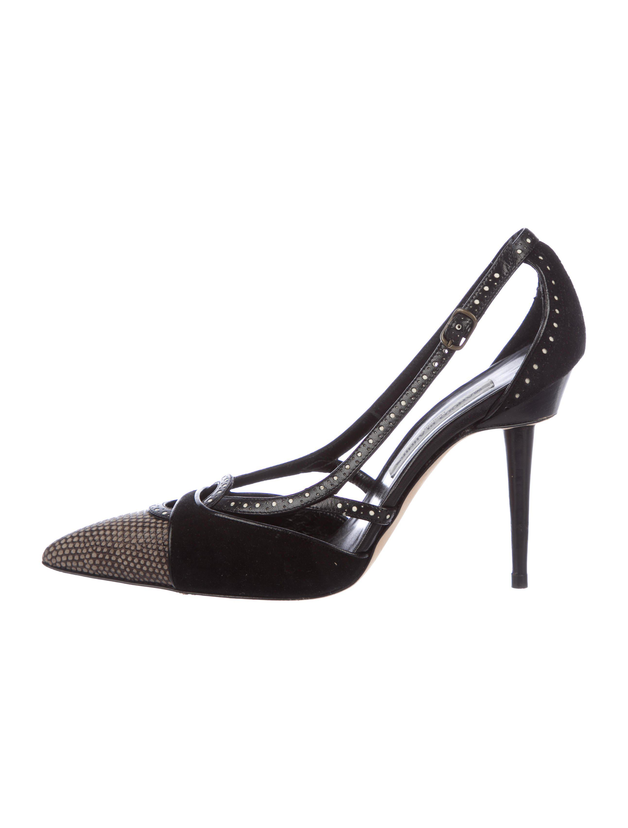 Manolo Blahnik Lizard-Trimmed Slingback Pumps outlet best place latest for sale buy cheap newest discount best seller low cost cheap price RMrOfOUu