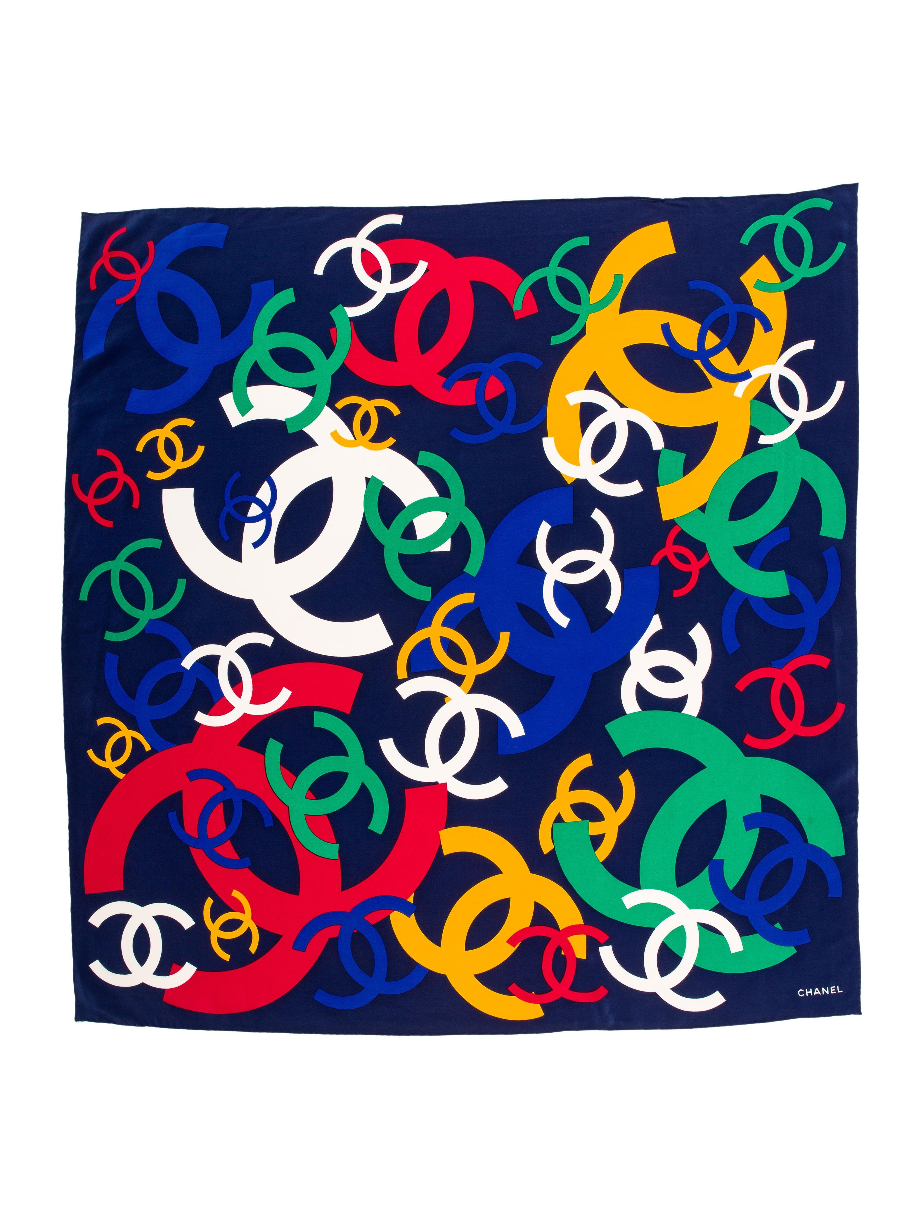 Chanel Print Art: Chanel Cc Logo Print Foulard In Blue
