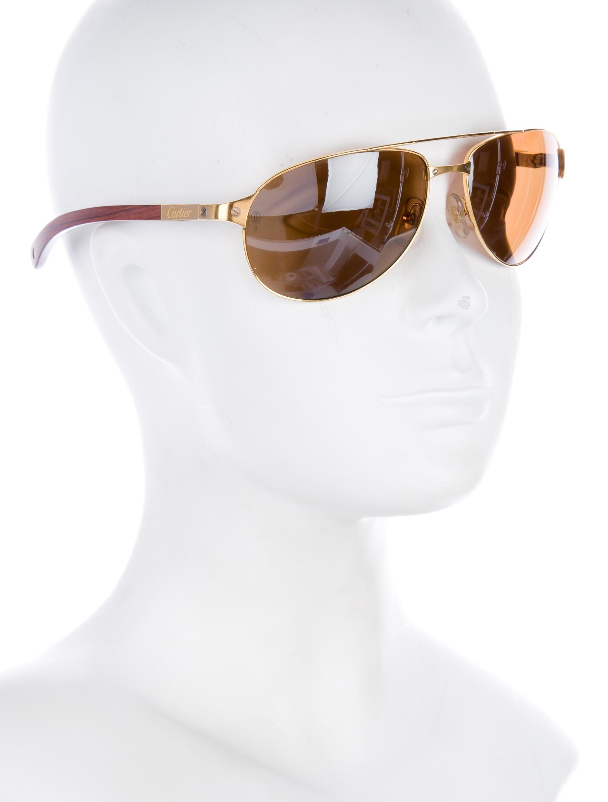 68b5e90ea92 Lyst - Cartier 2016 Edition Santos-dumont Wooden Sunglasses W  Tags ...