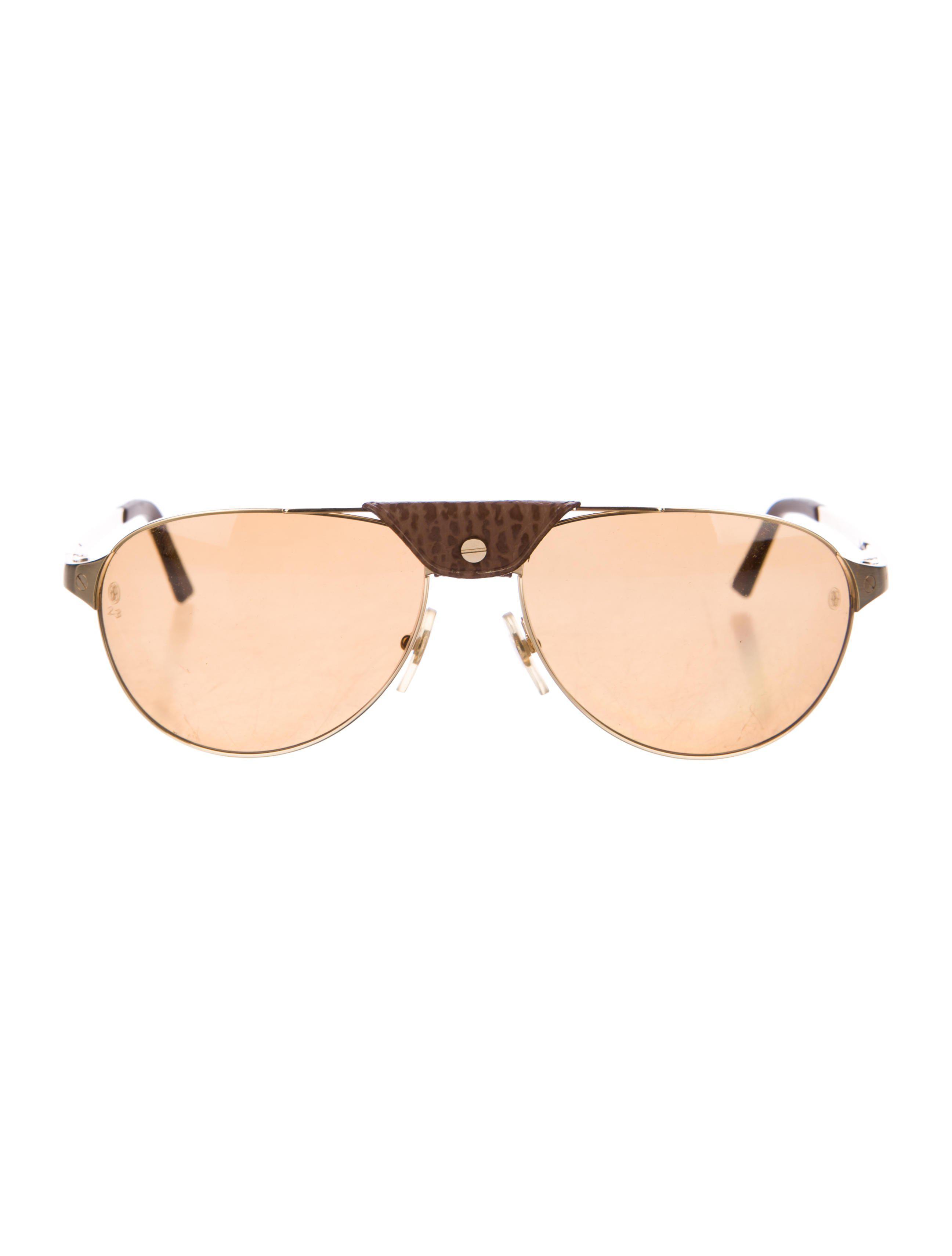 04735ceabe Lyst - Cartier Santos Dumont Aviator Sunglasses in Brown