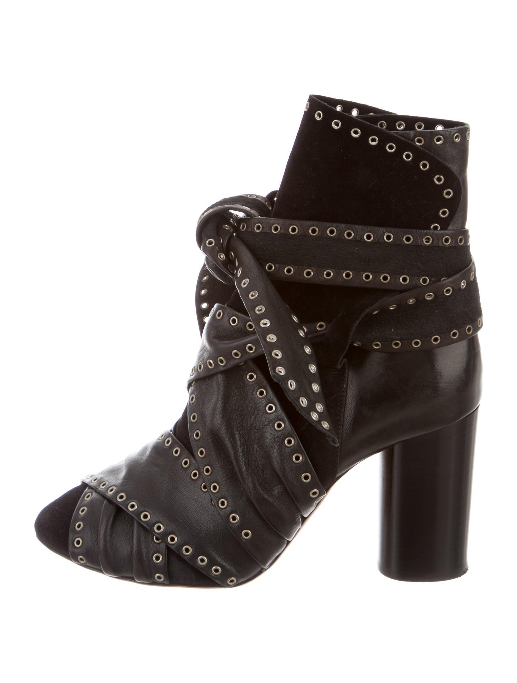 isabel marant aleen ankle boots black in metallic lyst. Black Bedroom Furniture Sets. Home Design Ideas