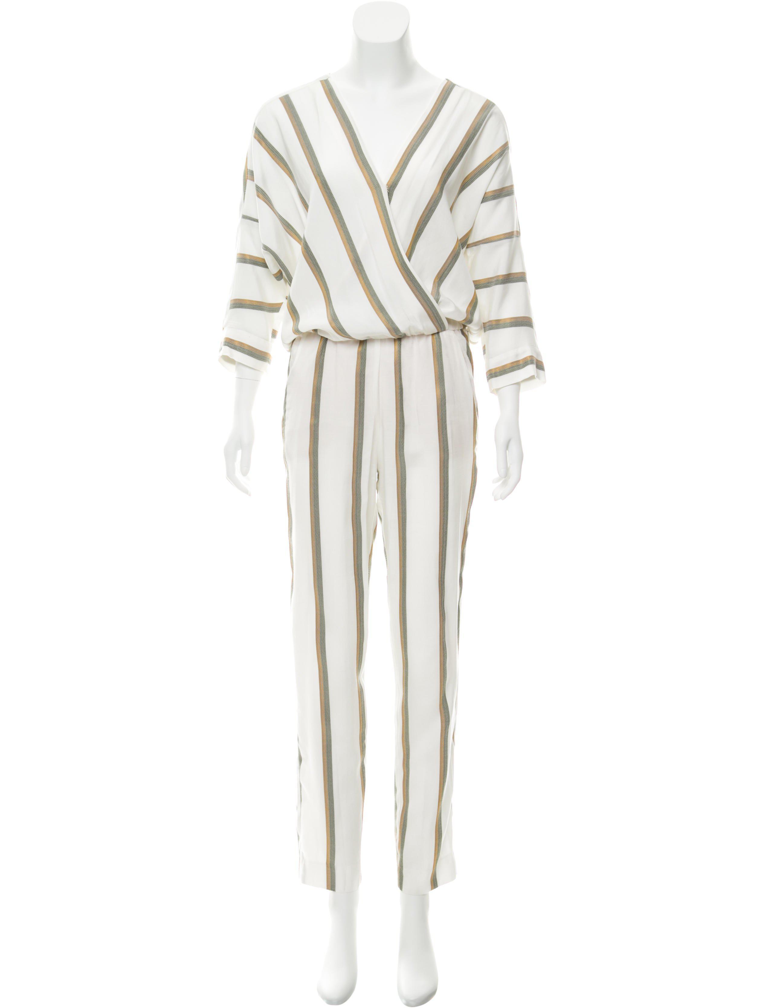 8f091c215413 Lyst - Maje Striped Surplice Neck Jumpsuit in White