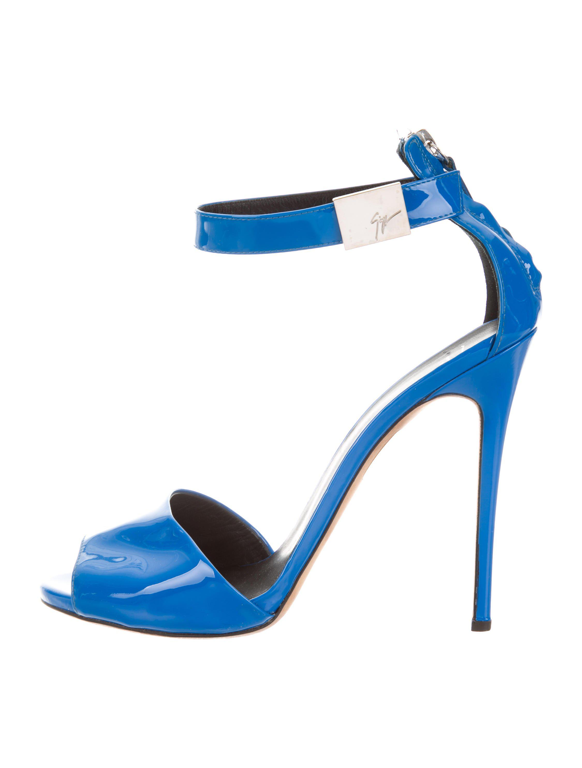 20757d0d8bc3 Lyst - Giuseppe Zanotti Patent Leather Ankle Strap Sandals in Blue