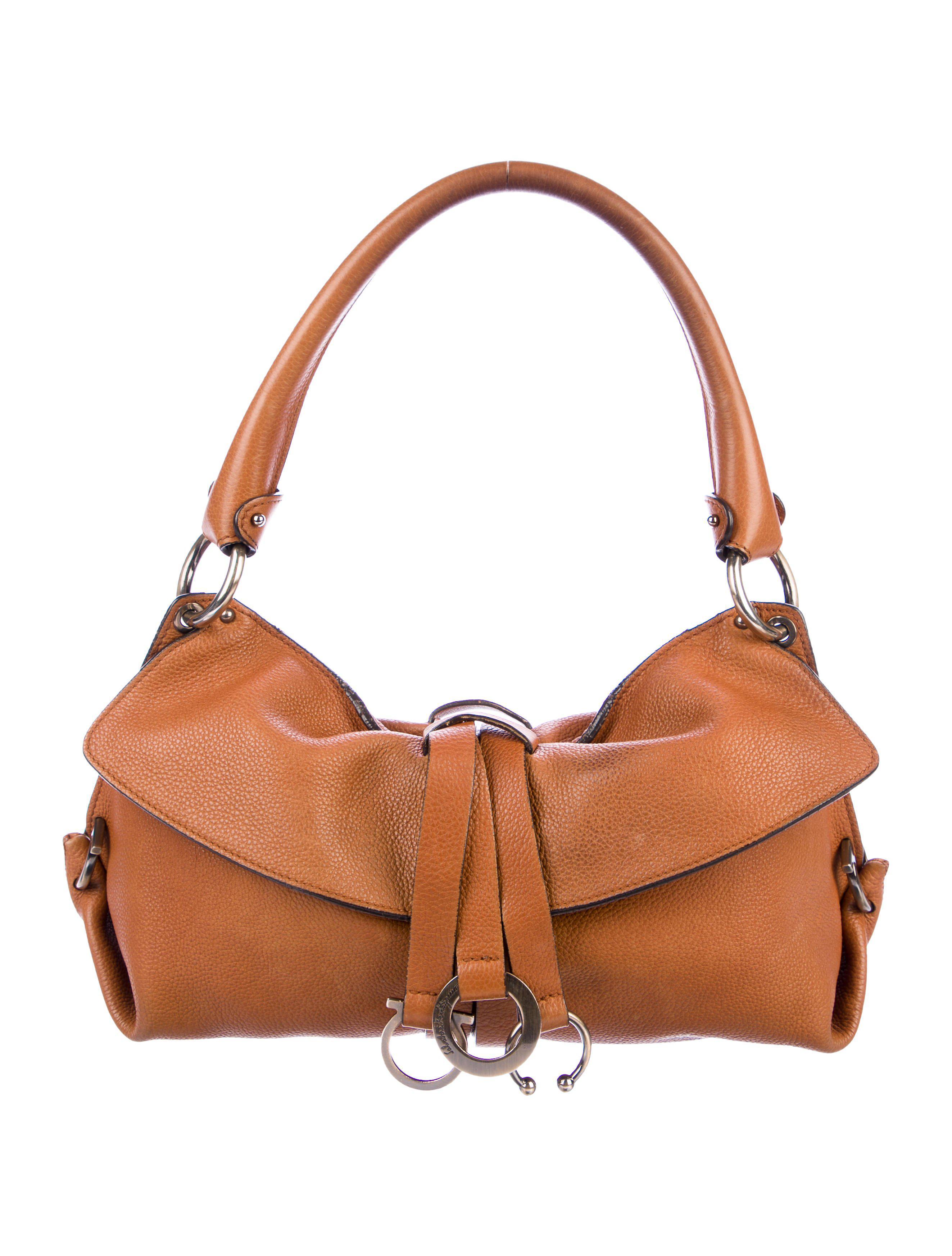 96d9b7bf0706 Lyst - Ferragamo Leather Gancio Shoulder Bag in Brown