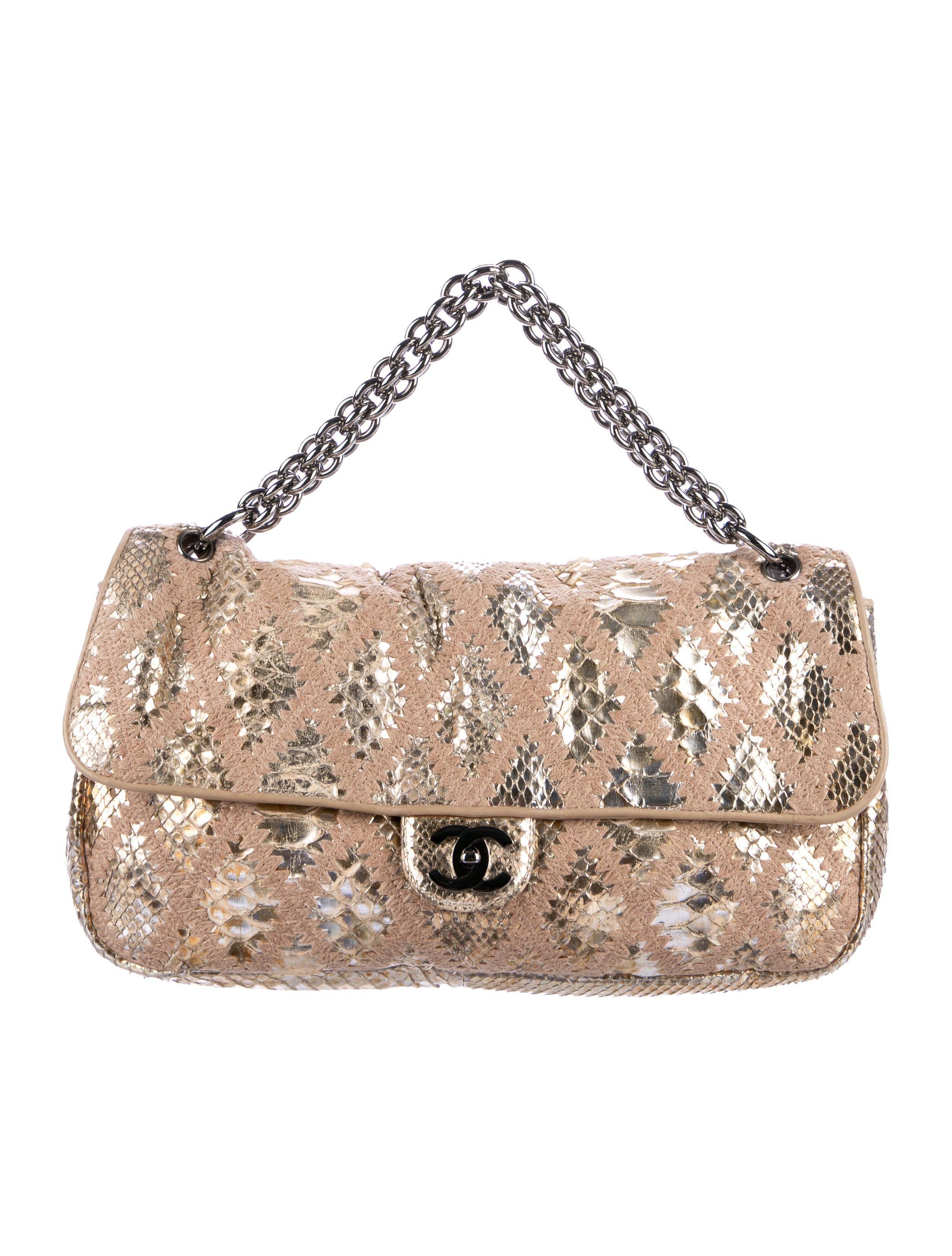 2c0c5a525a77 Lyst - Chanel Soft   Chain Python Crochet Flap Bag Tan in Natural