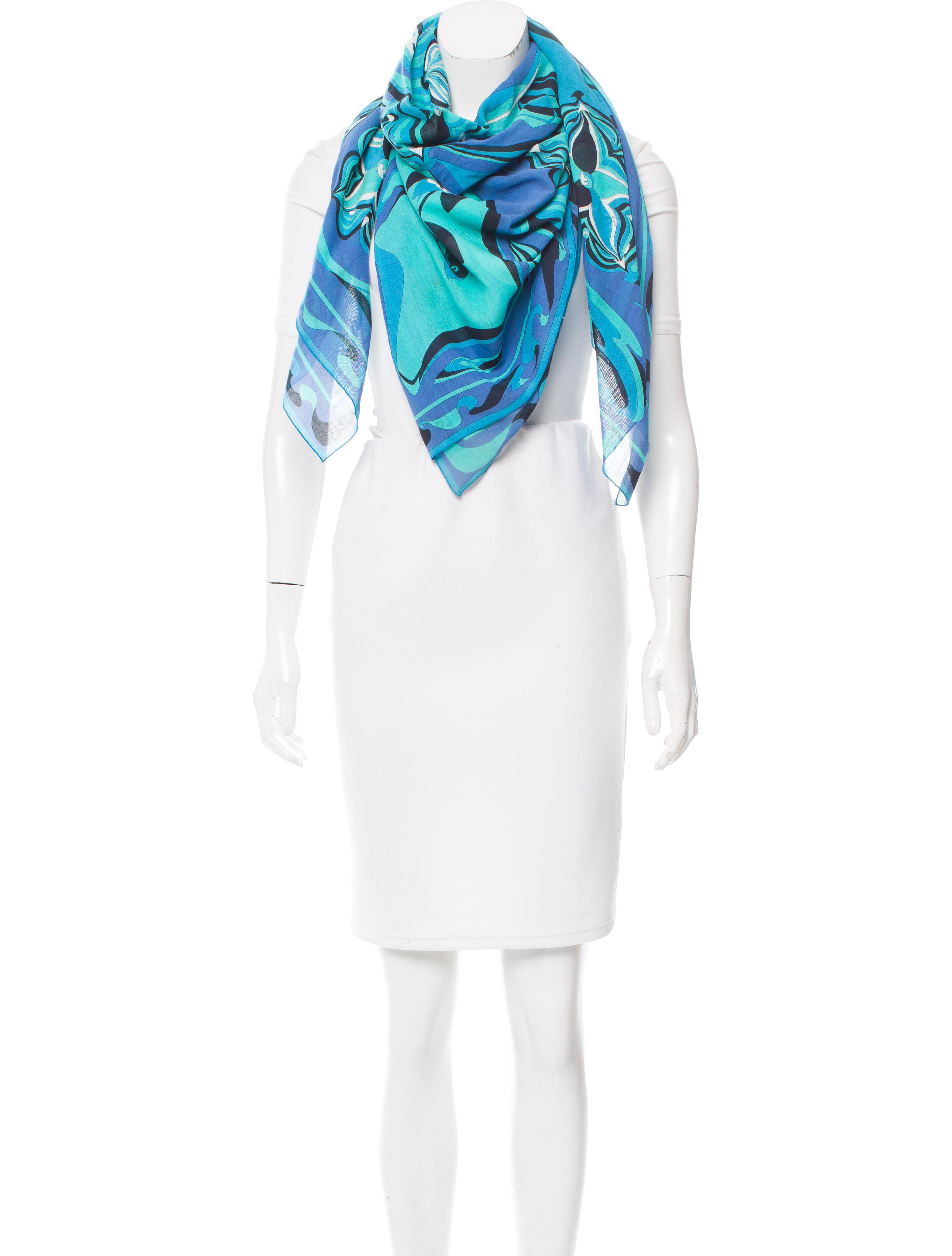 abstract print skinny scarf - Blue Emilio Pucci rSXGvG