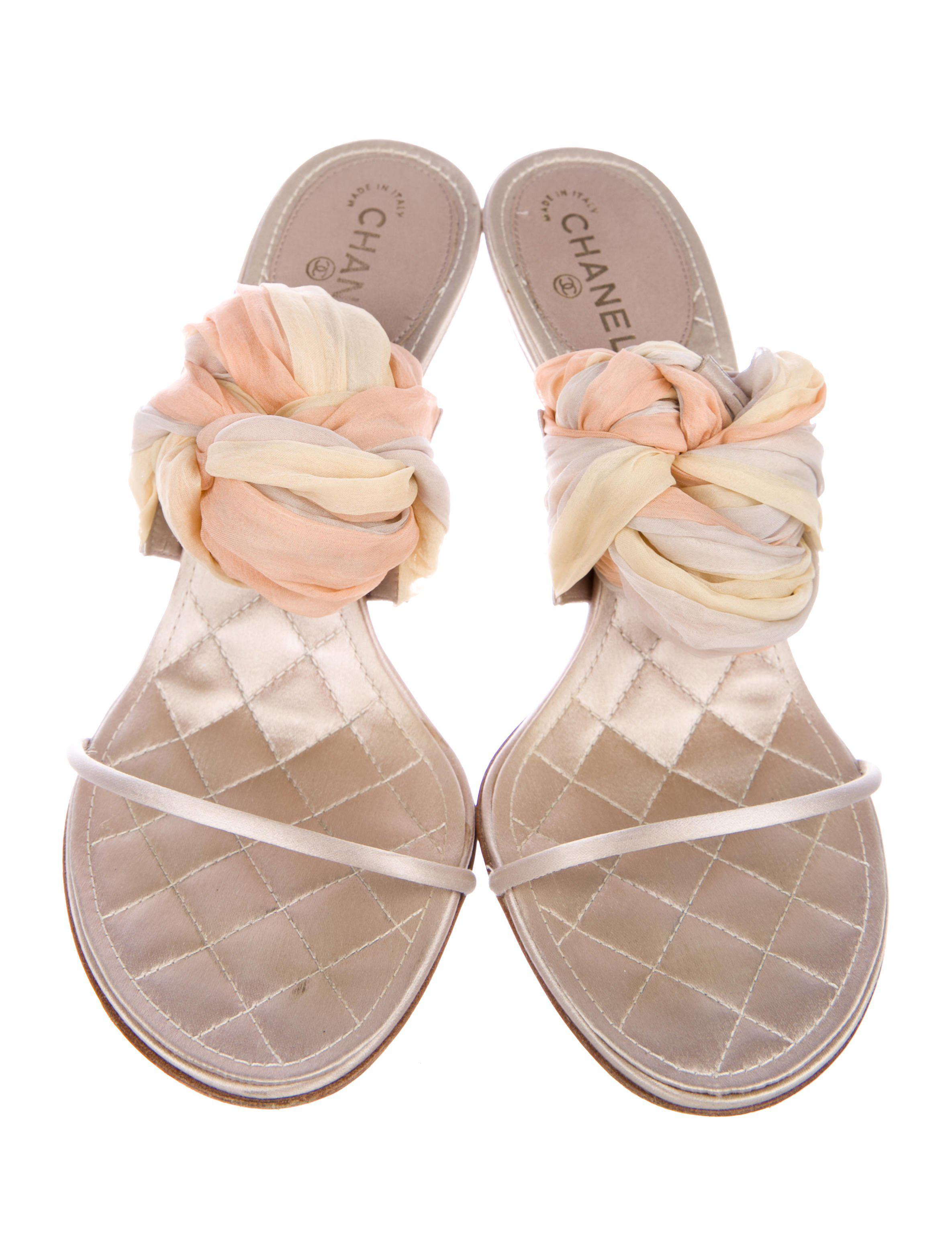 59d97417e625 Lyst - Chanel Satin Lace-up Sandals Beige in Yellow