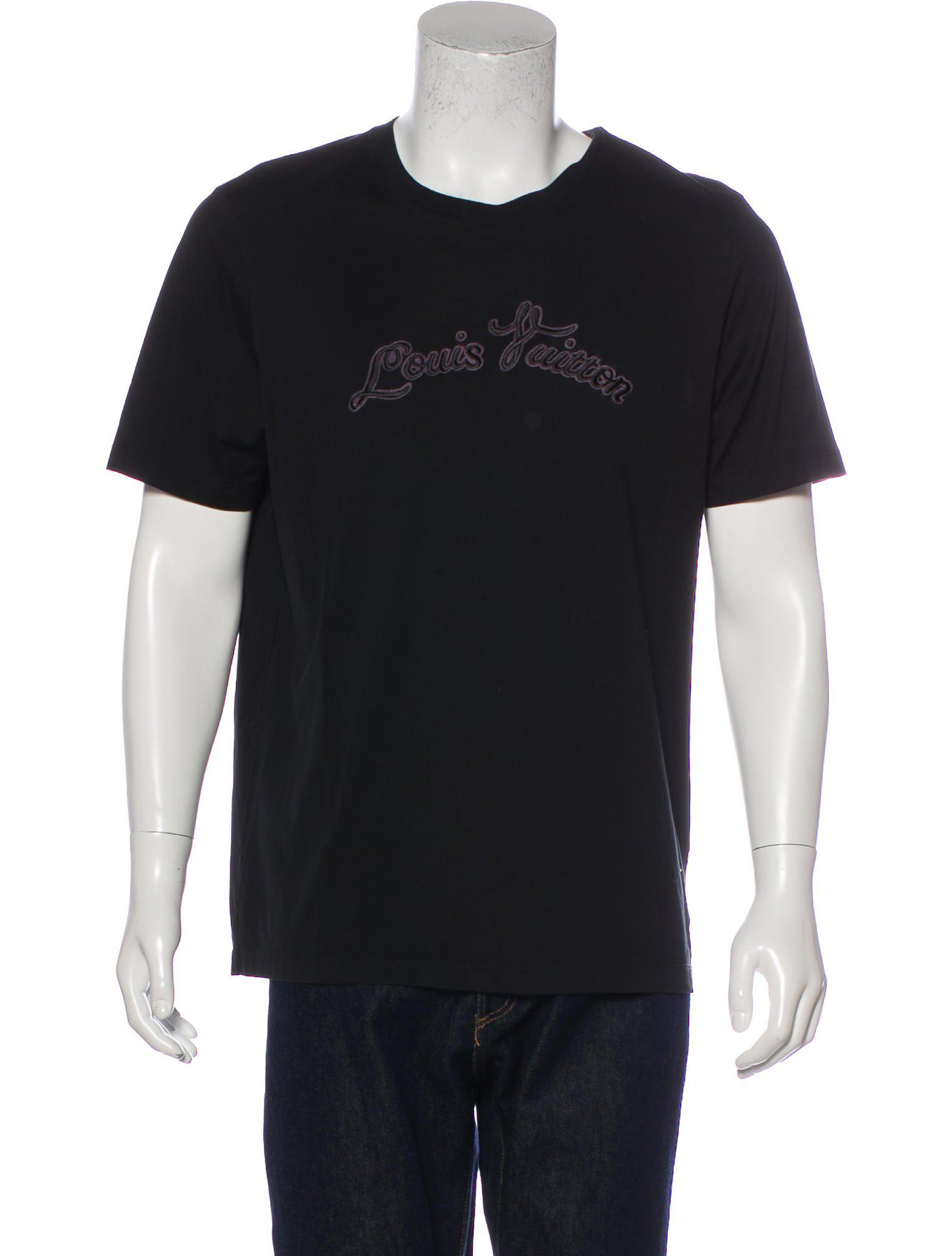 005d7870 Lyst - Louis Vuitton Logo Embroidered T-shirt in Black for Men