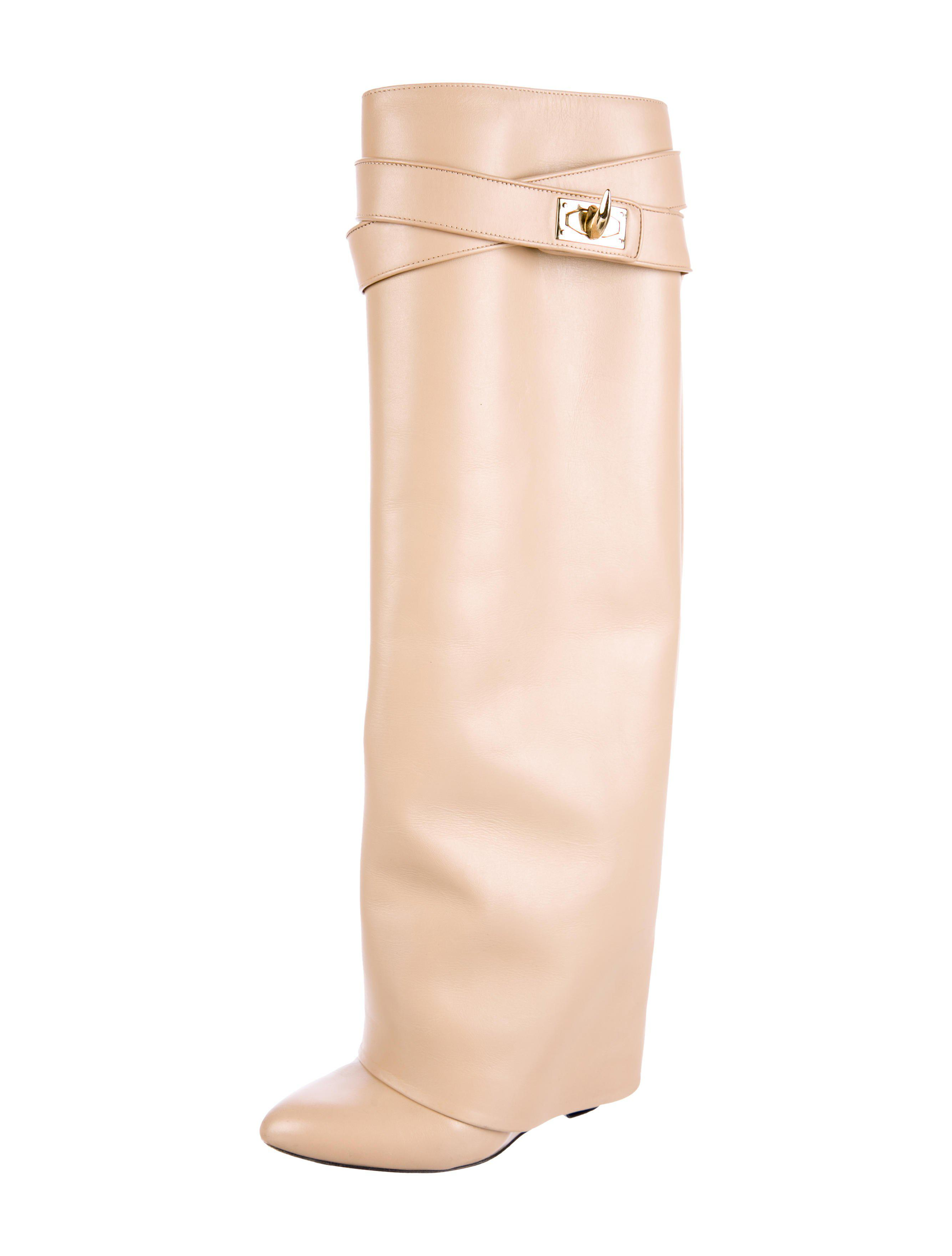 2f71a215c9fe Lyst - Givenchy Shark-lock Knee-high Boots Neutrals in Metallic