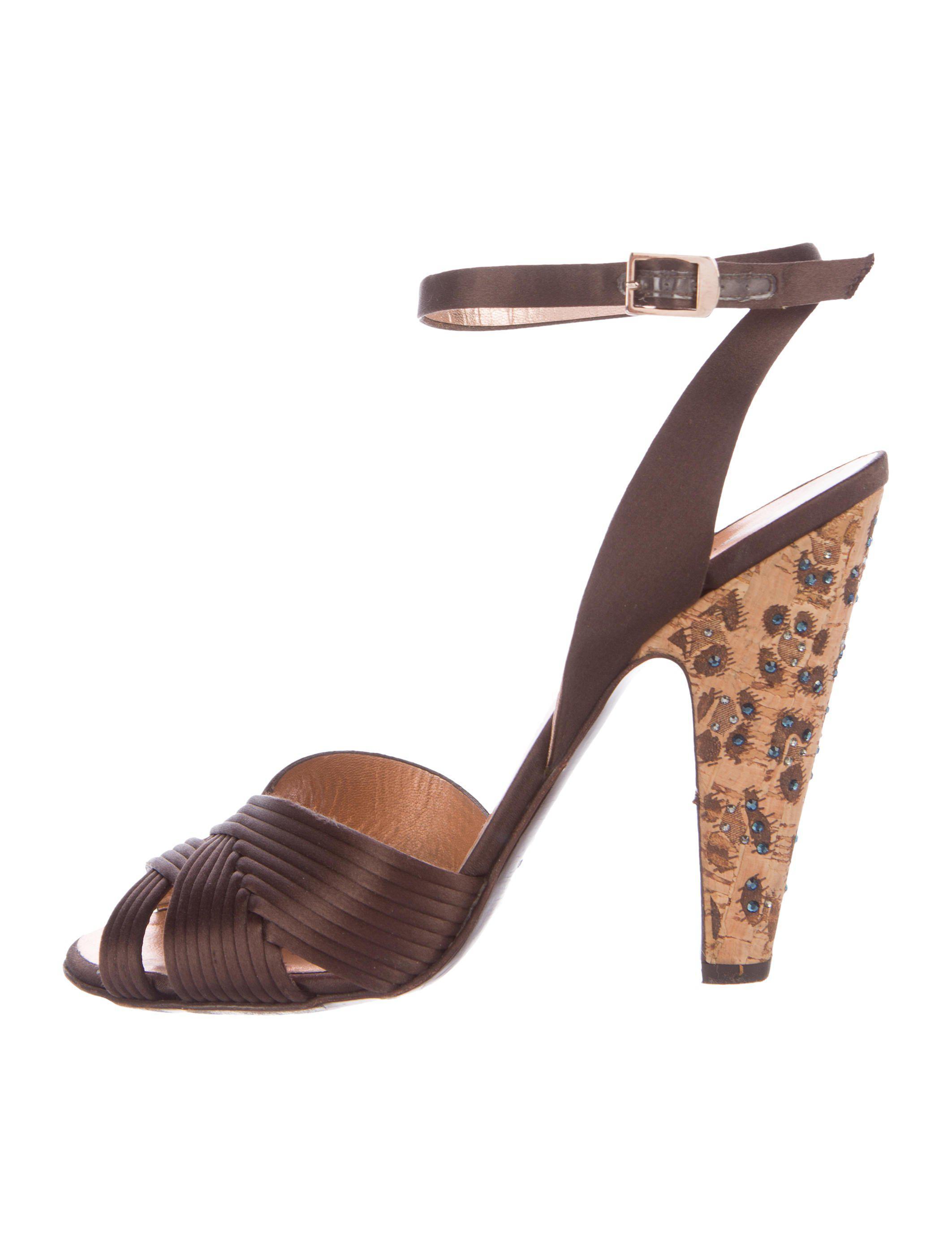 Roberto Cavalli Satin Embellished Sandals 2014 new for sale OwUuN