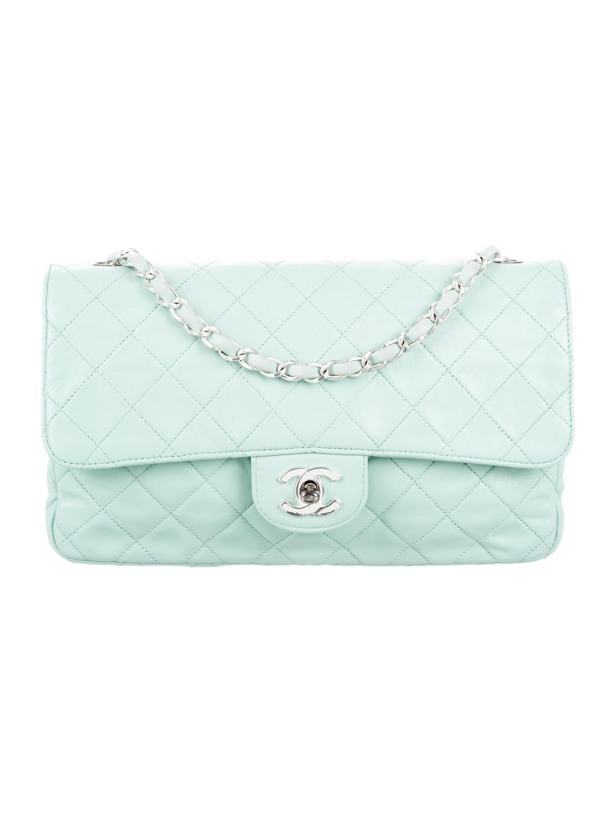 ed72842589f Lyst - Chanel Quilted Single Flap Bag Mint in Metallic