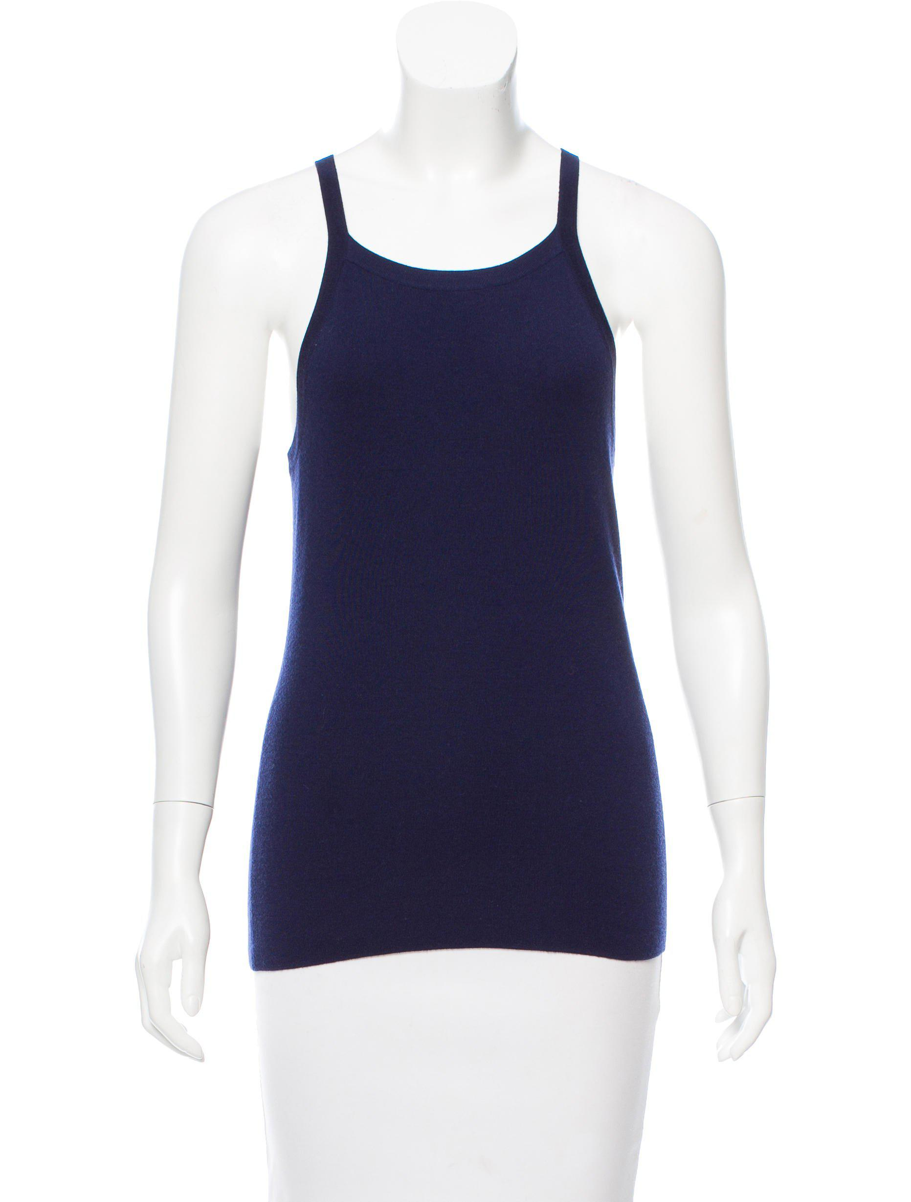 143bcb6e02591 Lyst - Michael Kors Sleeveless Cashmere Top W  Tags Navy in Blue