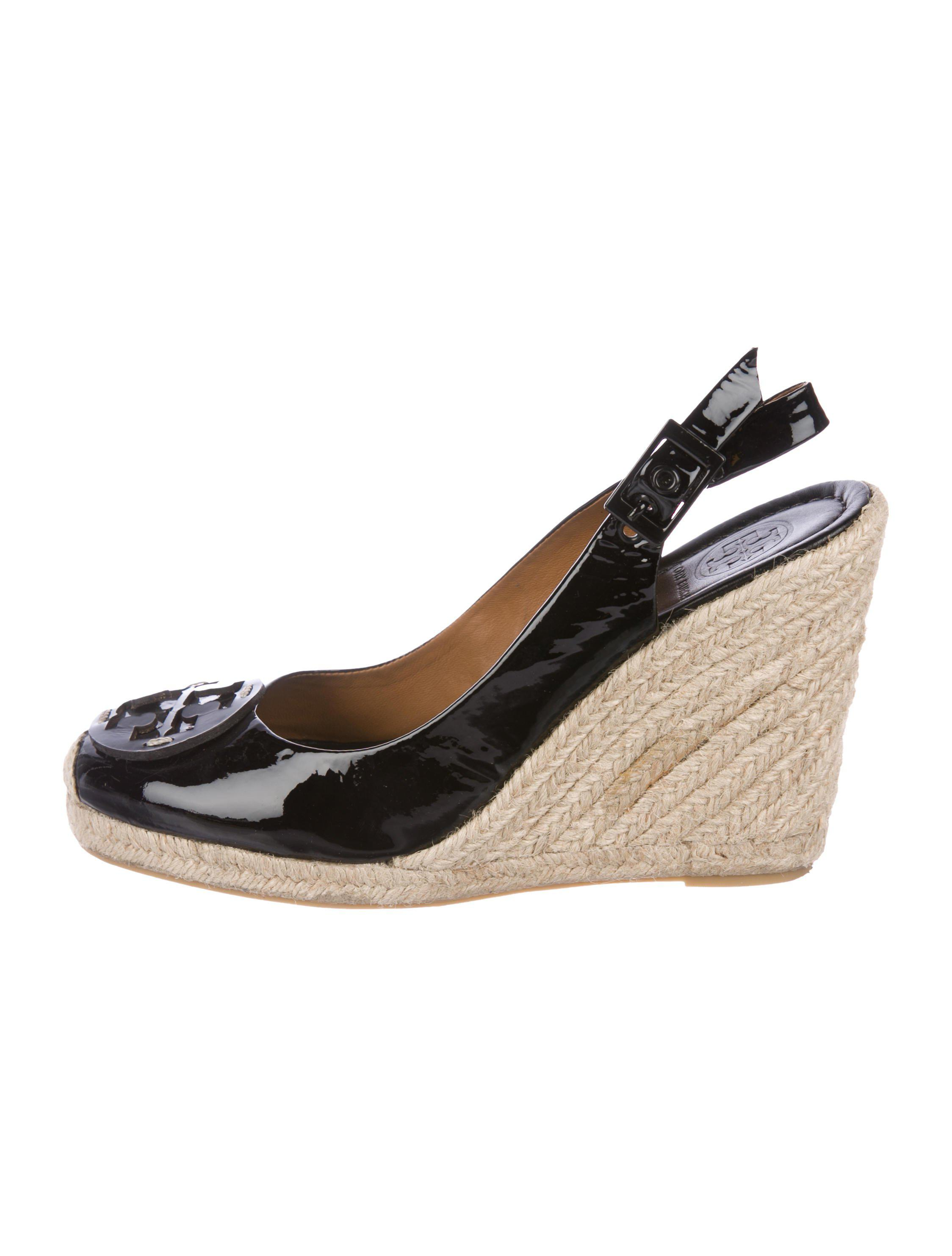 7c32ef41f Lyst - Tory Burch Patent Leather Espadrille Wedges in Black