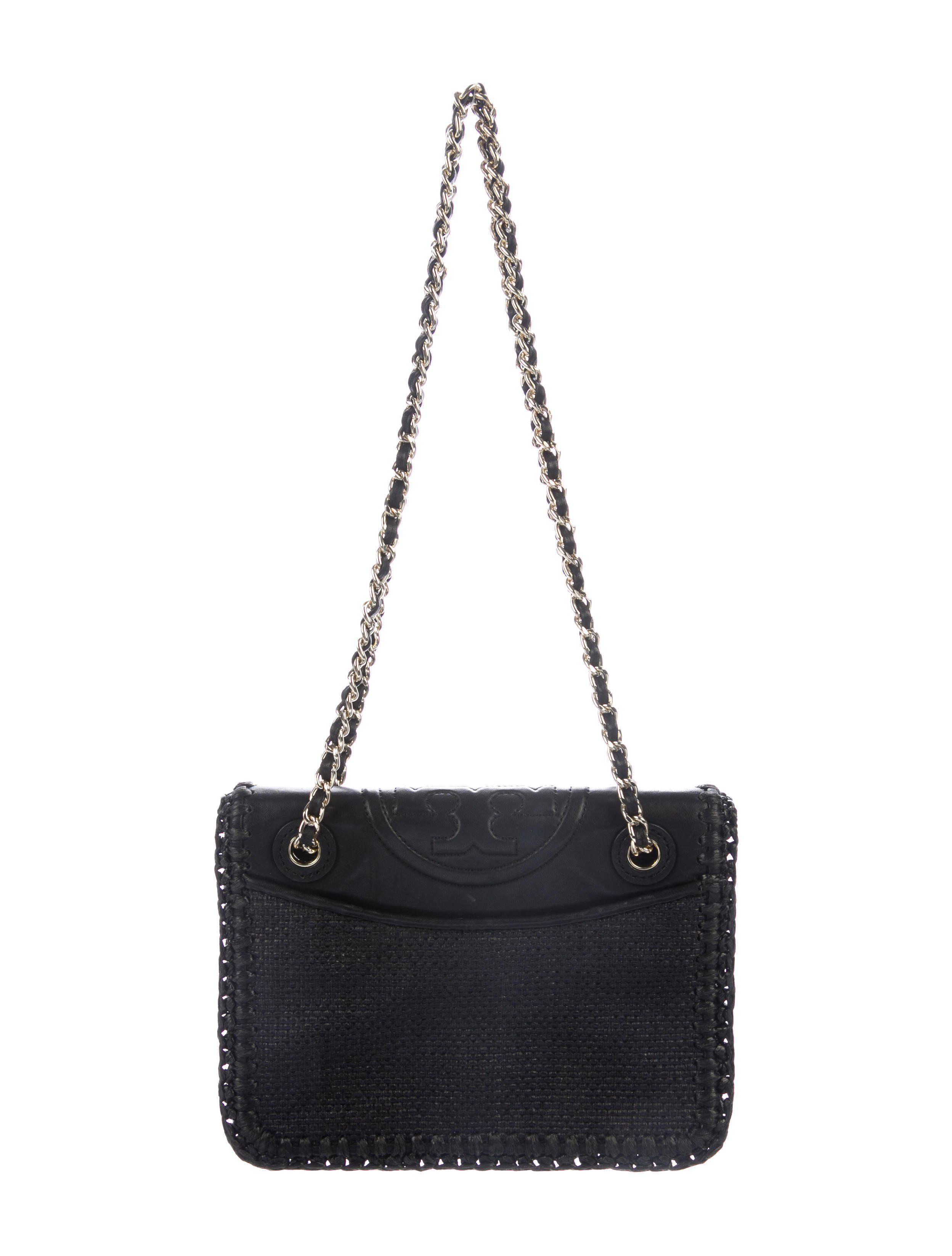 5763983a92fa Lyst - Tory Burch Fleming Crochet Medium Flap Bag Black in Metallic