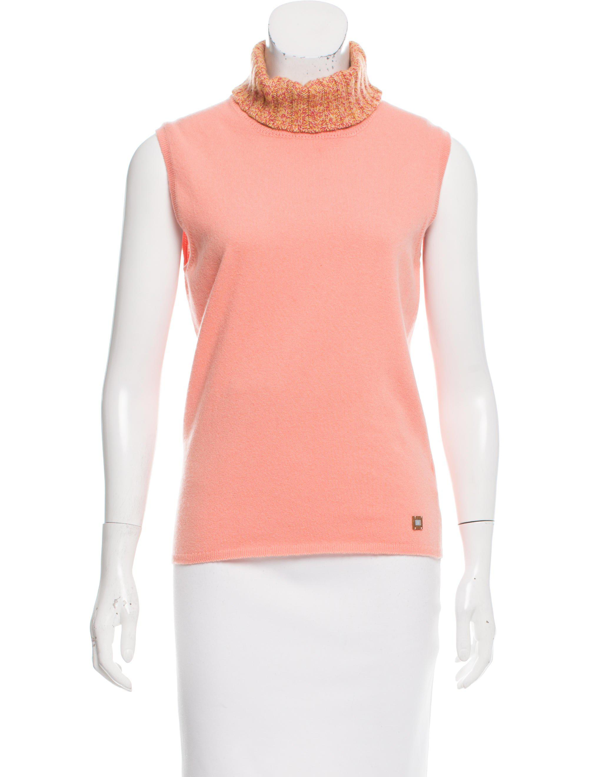 9b8bc67fe67ed Lyst - Chanel Cashmere Sleeveless Top Orange in Pink