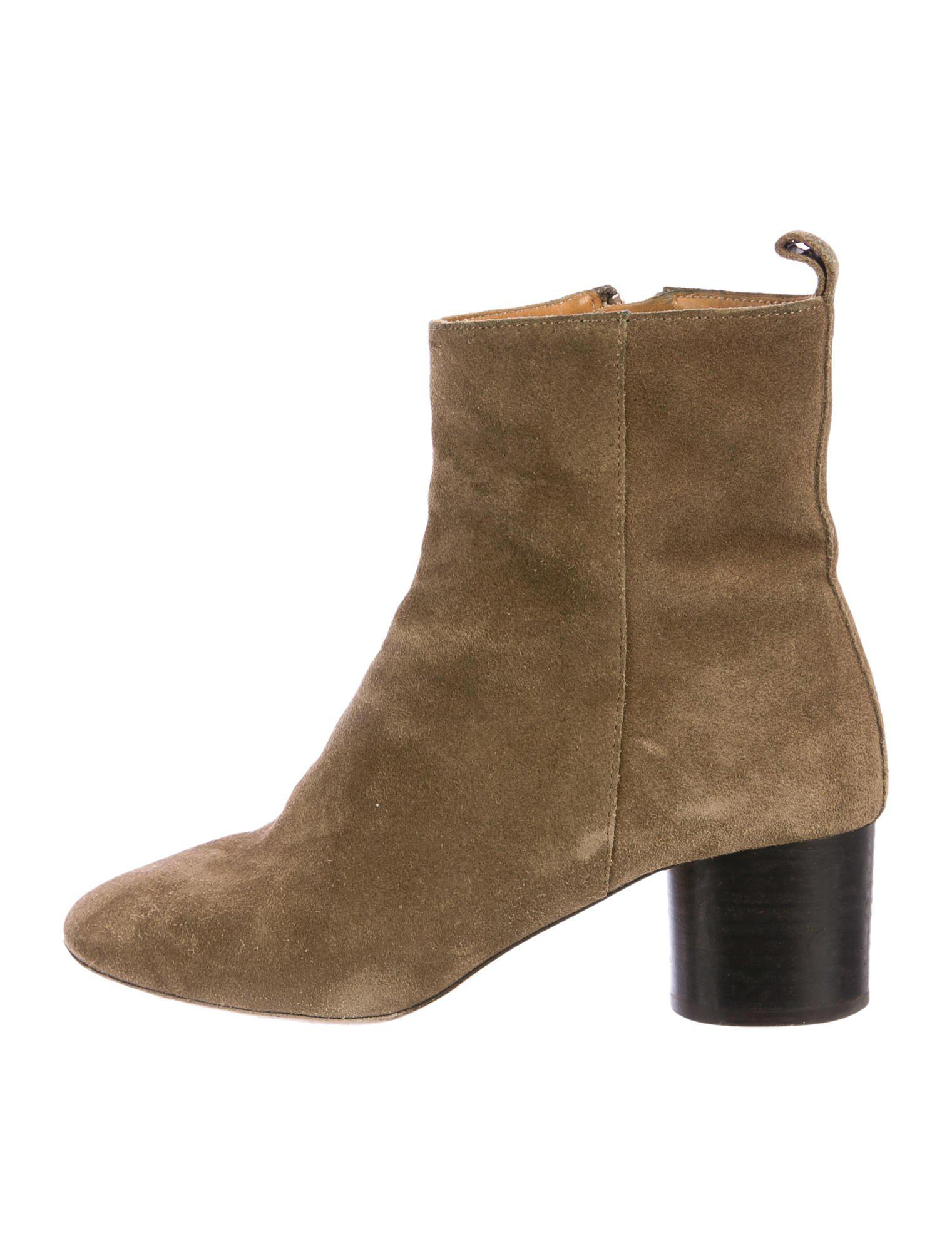 0ec611699f5 Lyst - Étoile Isabel Marant Suede Round-toe Ankle Boots Olive in Green