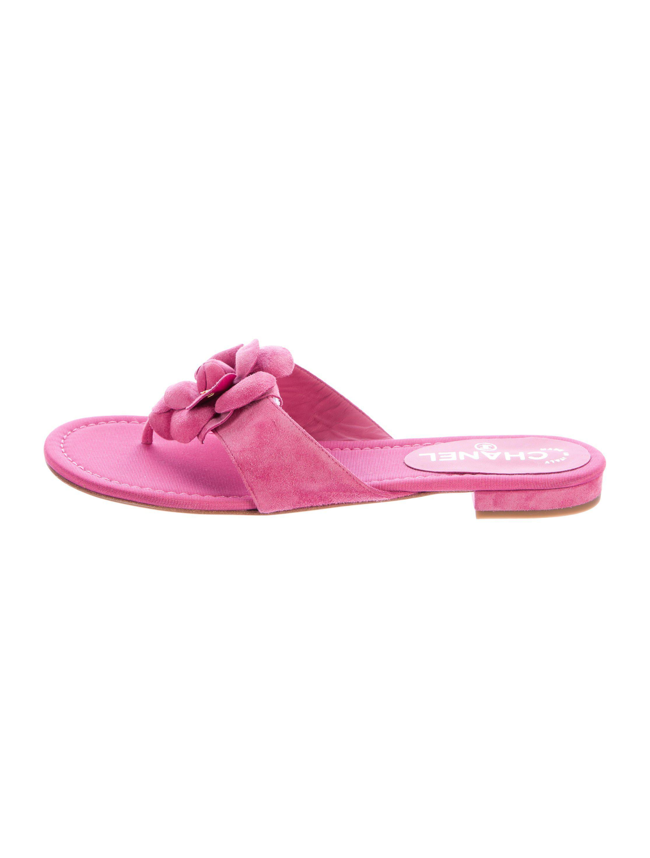 46167972756116 Lyst - Chanel Suede Camelia Sandals Fuchsia in Pink