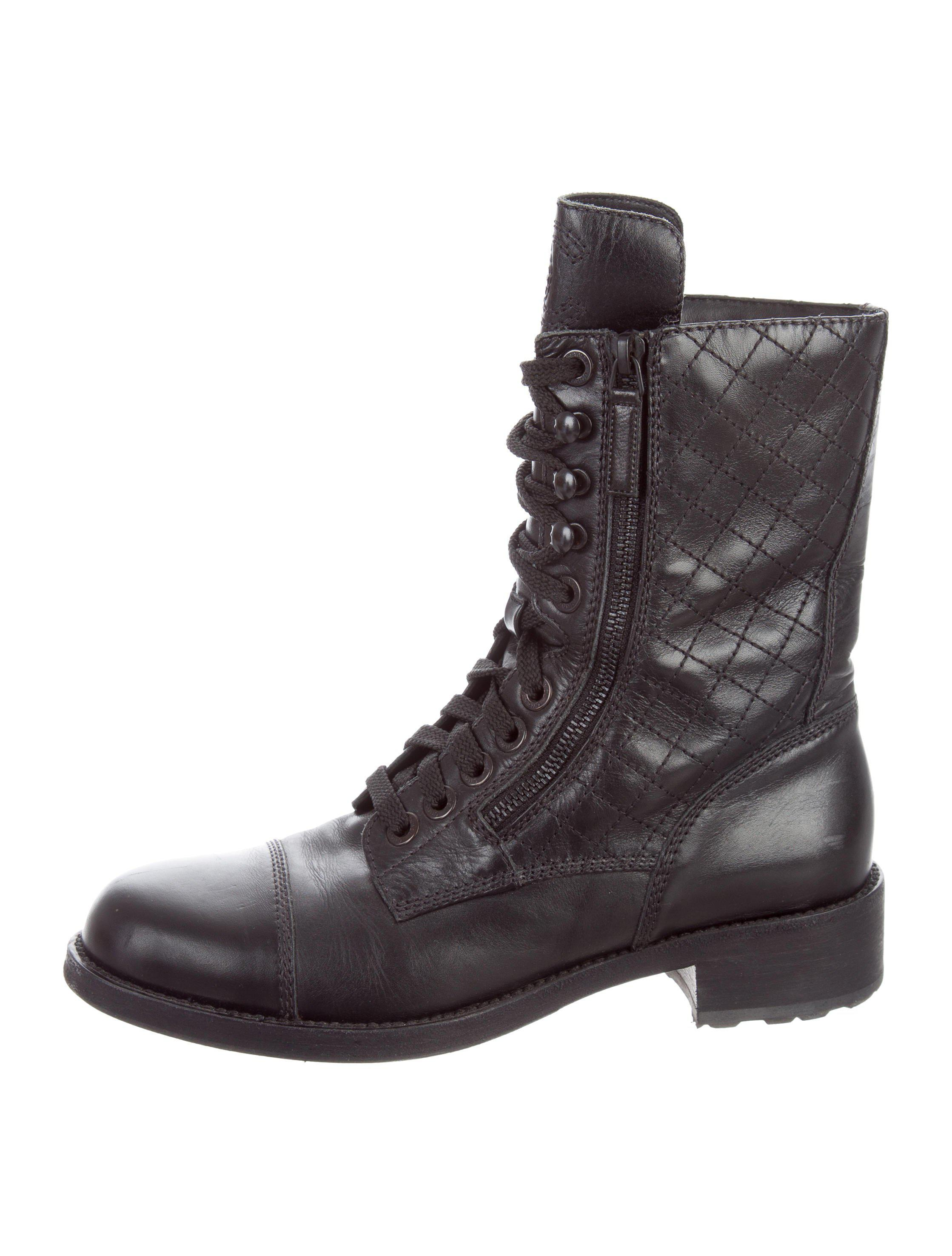 Chanel Quilted Combat Ankle Boots In Black For Men Lyst
