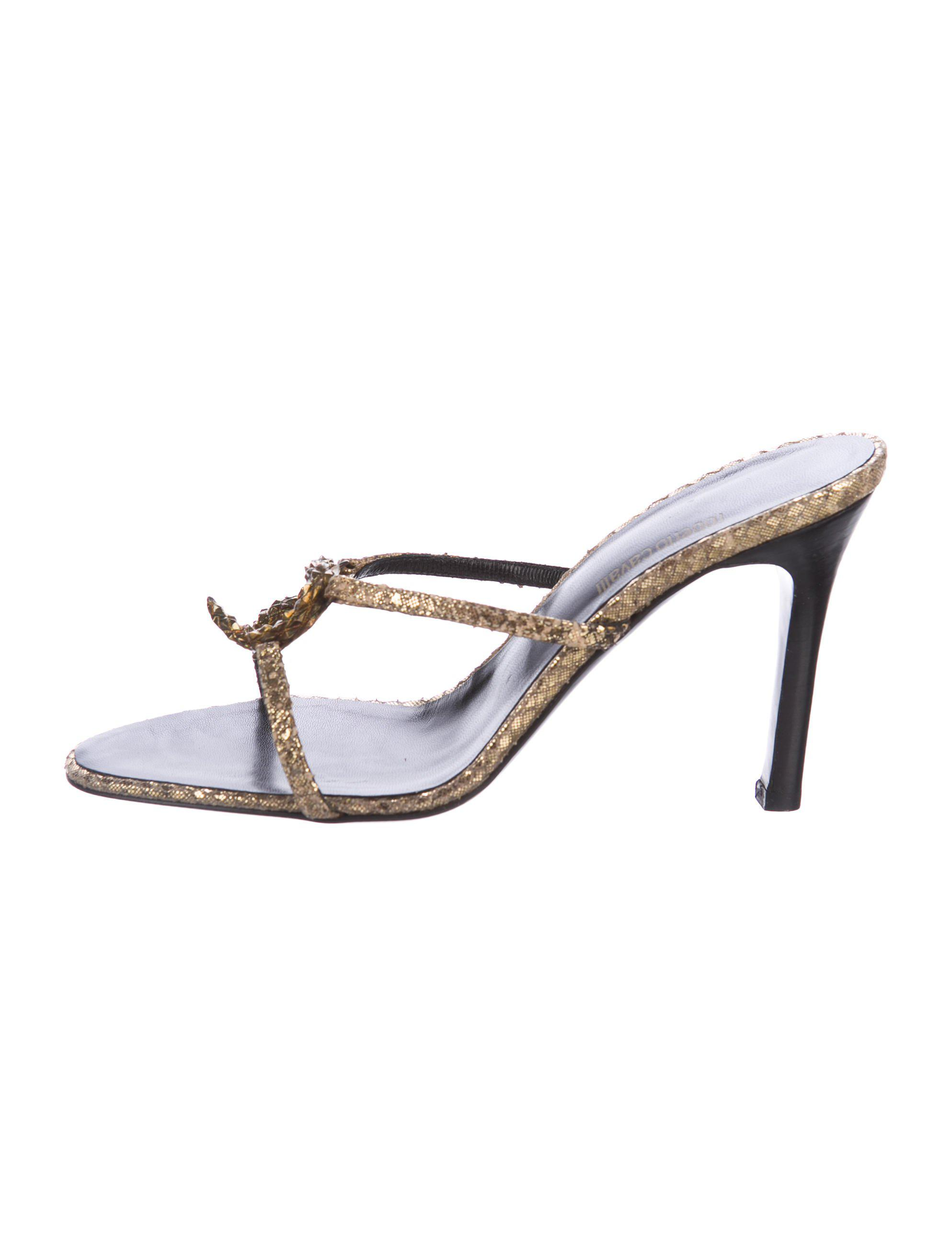 sale geniue stockist Roberto Cavalli Embossed Metallic Sandals buy cheap pay with visa free shipping online low price online hot sale sale online rOCCngb