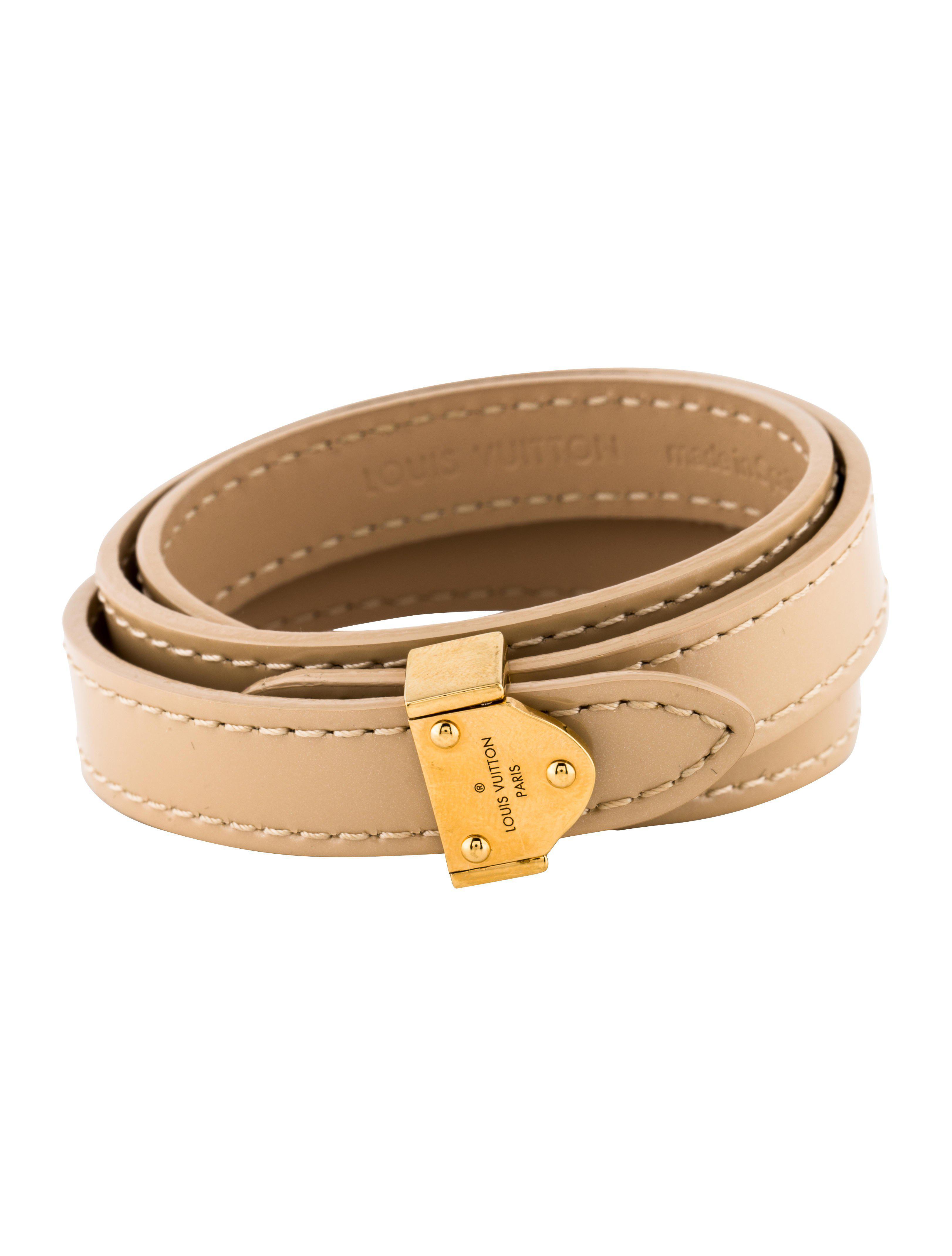 Lyst Louis Vuitton Box It Leather Wrap Bracelet Tan In Metallic