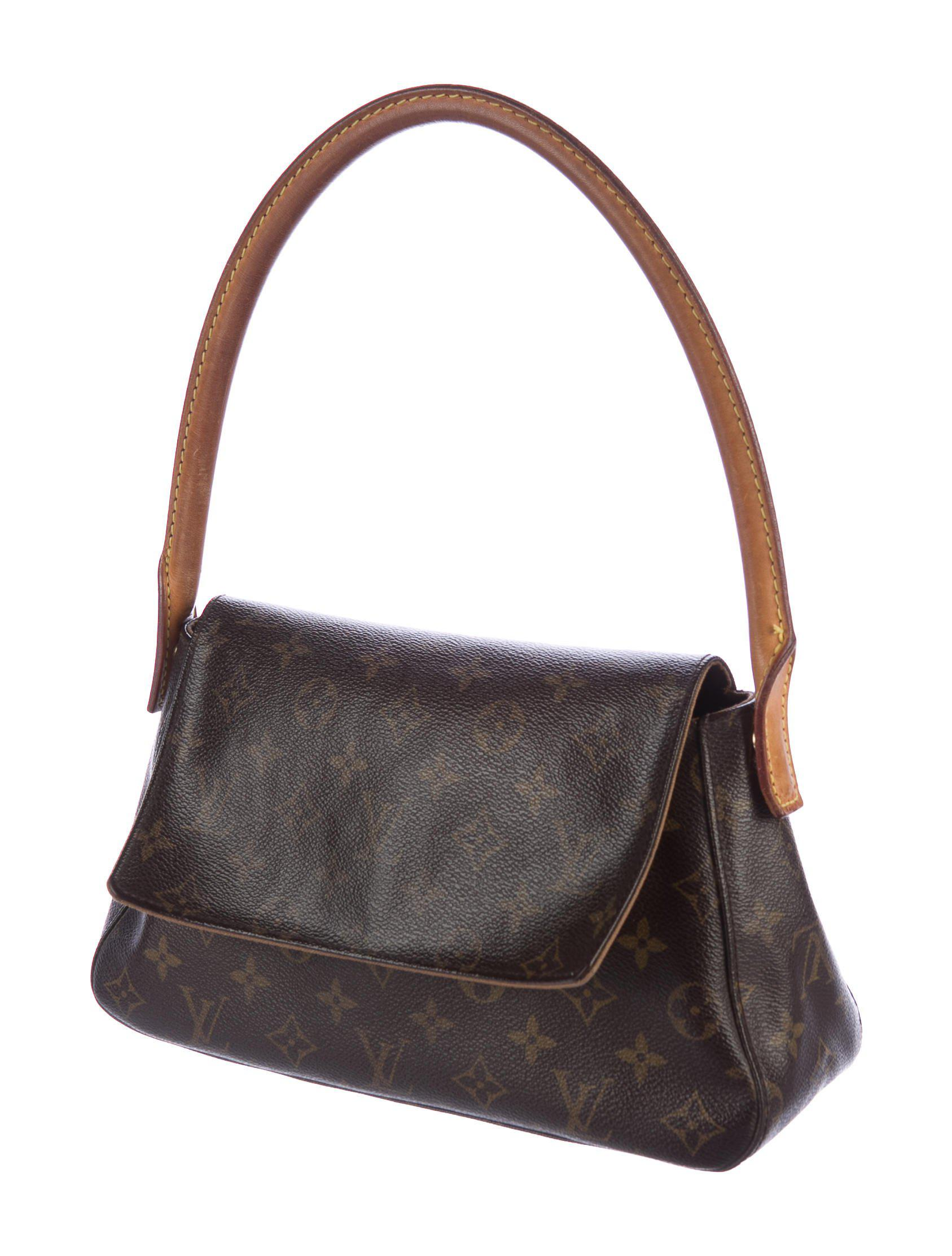 8015ca6ebade Lyst - Louis Vuitton Monogram Mini Looping Bag Brown in Natural