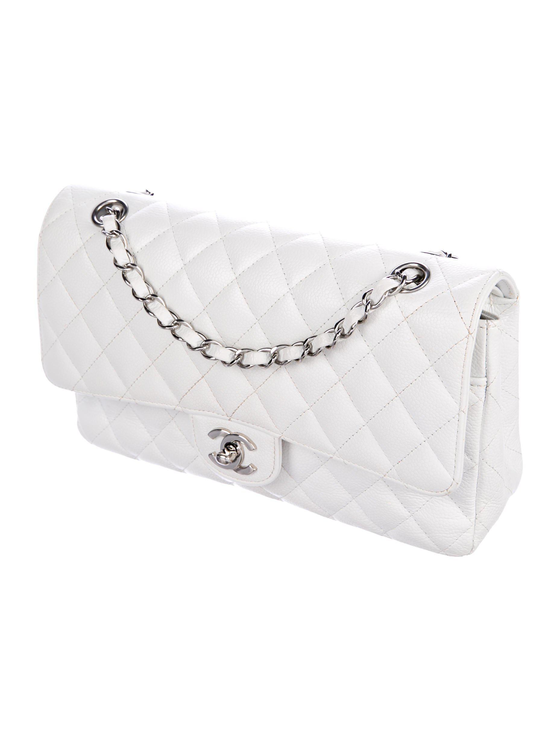 395ff15bc656 Lyst - Chanel Caviar Classic Medium Double Flap Bag White in Metallic