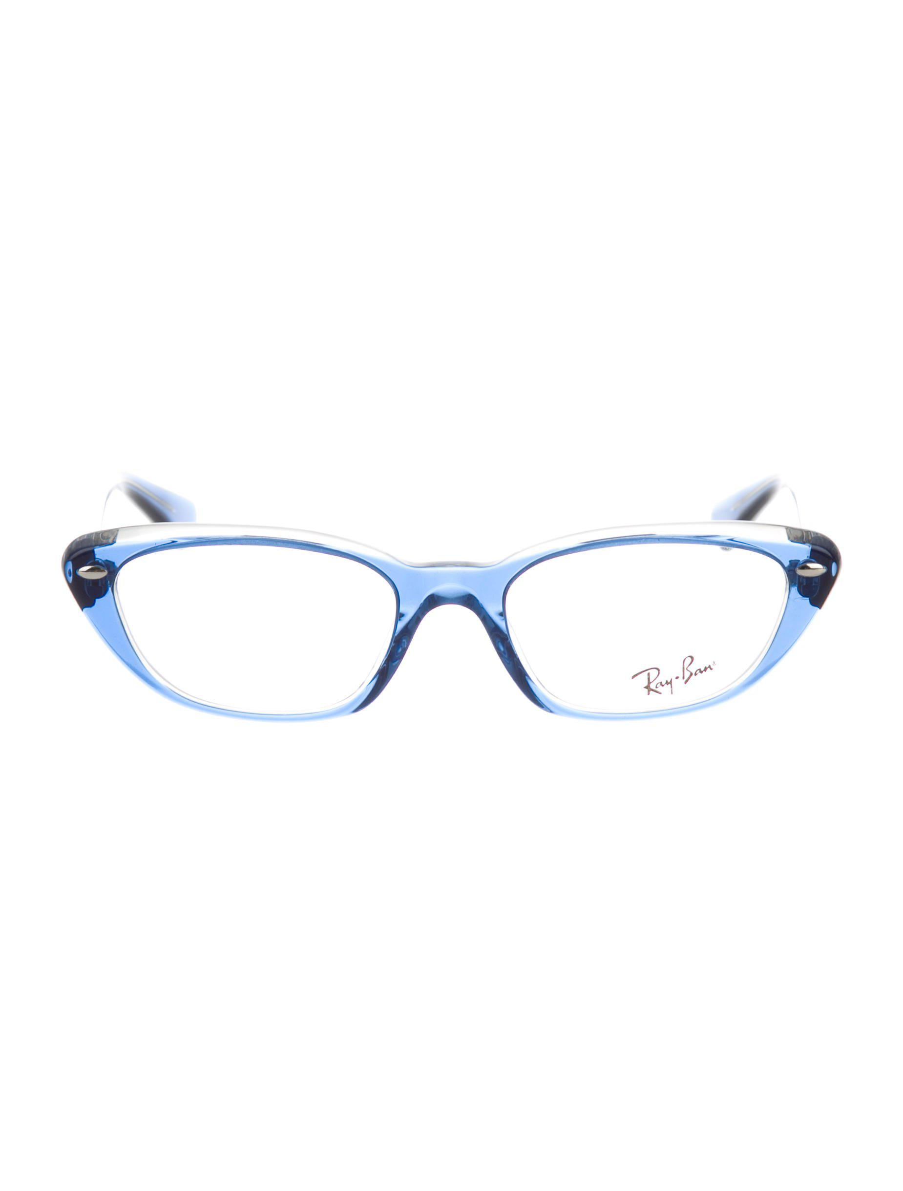 79b5a88b0149 Lyst - Ray-Ban Translucent Cat-eye Eyeglasses Blue in Metallic