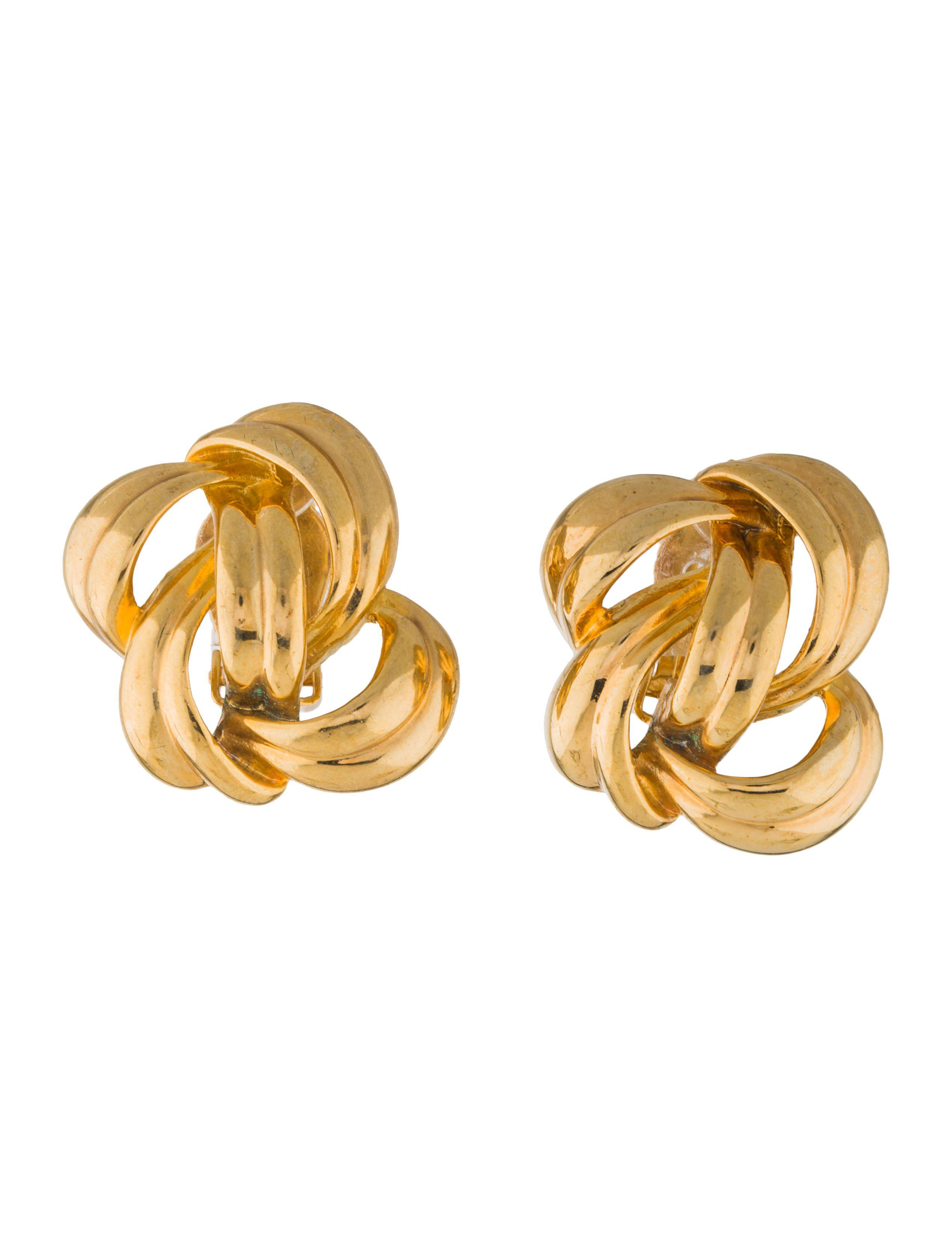 Givenchy Women S Metallic Vintage Overling Clip On Earrings Gold