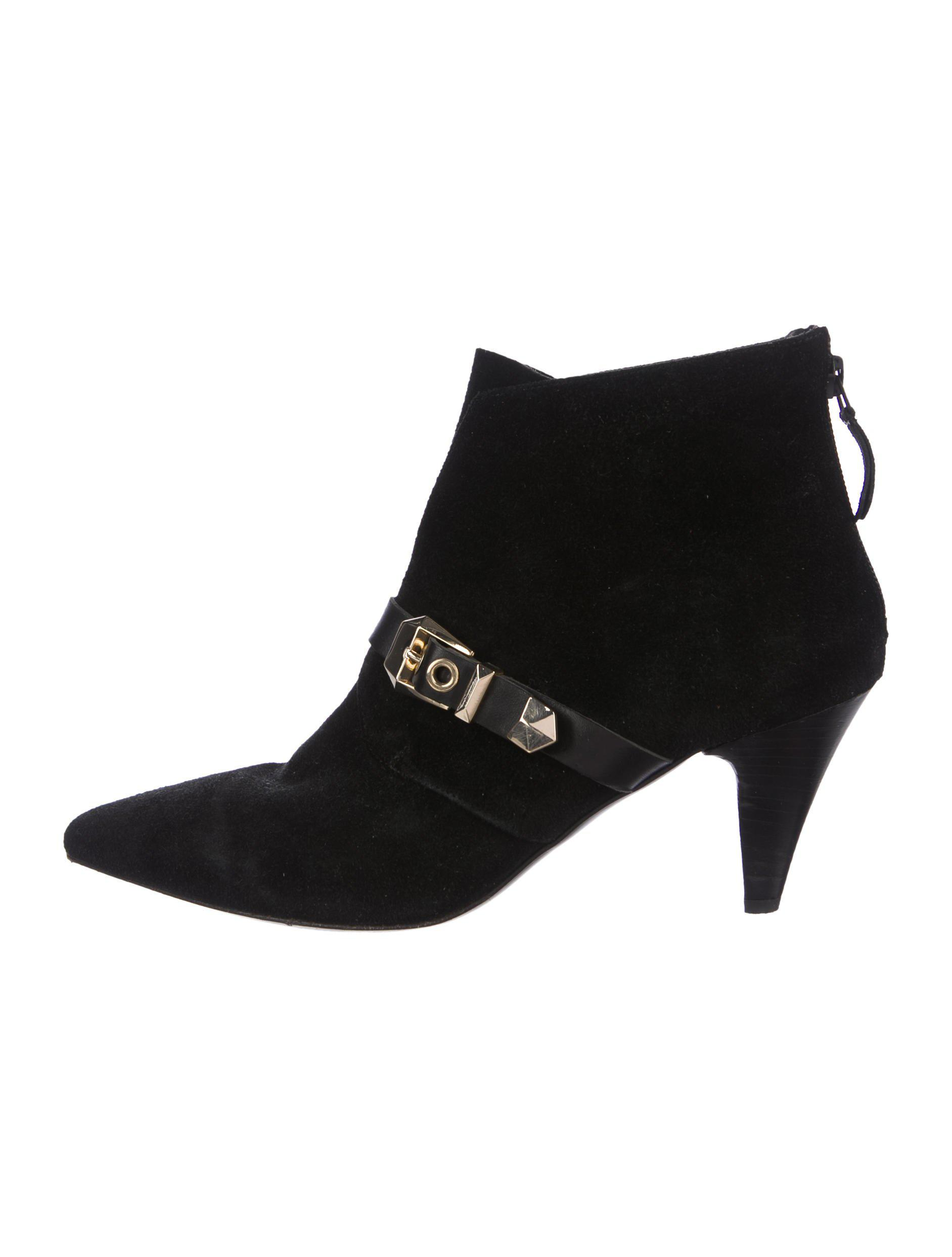 3ce2b66868b6c Lyst - Sandro Suede Pointed-toe Ankle Boots Black in Metallic