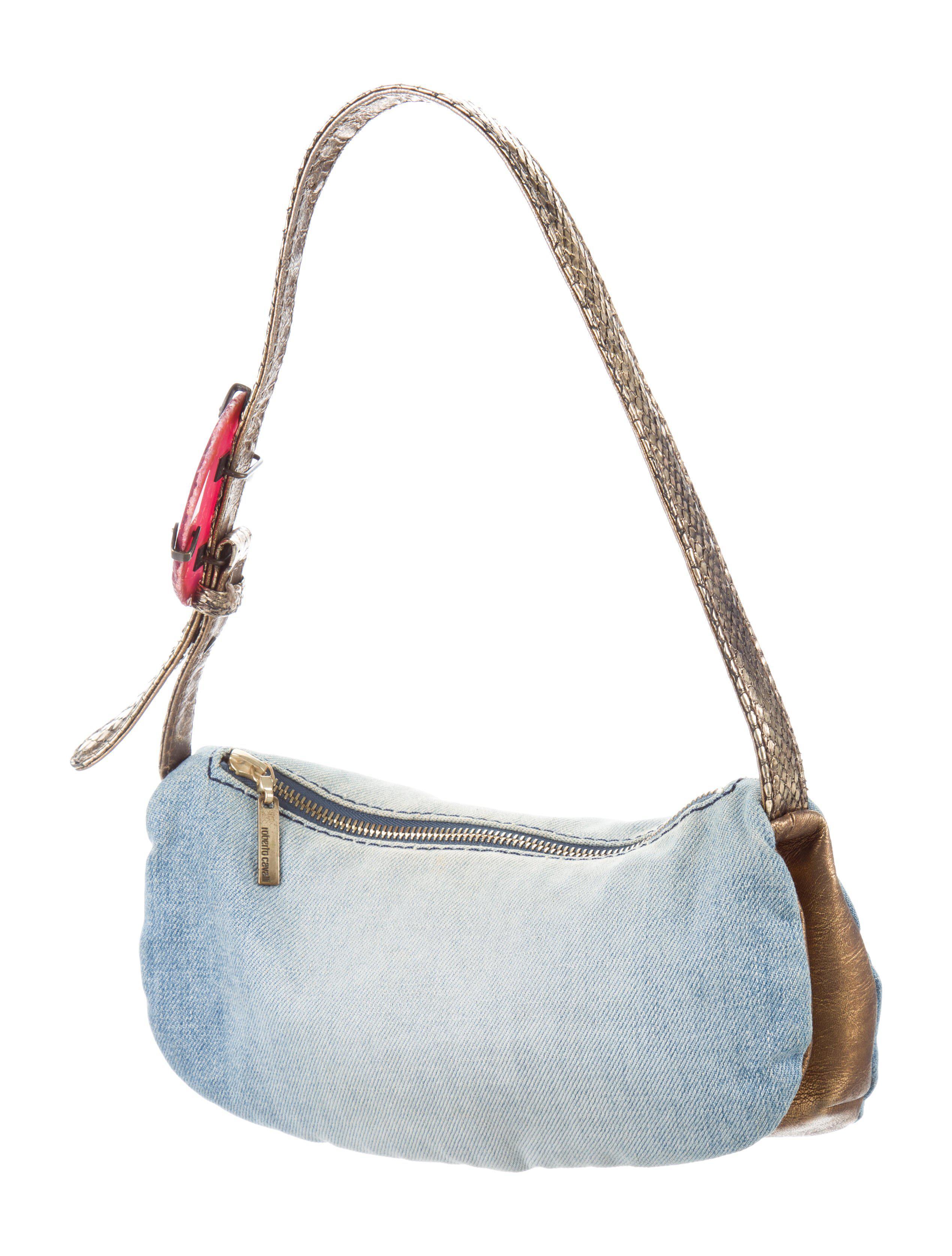a311f5d95dd1 Lyst - Roberto Cavalli Snakeskin-trimmed Shoulder Bag Blue in Metallic