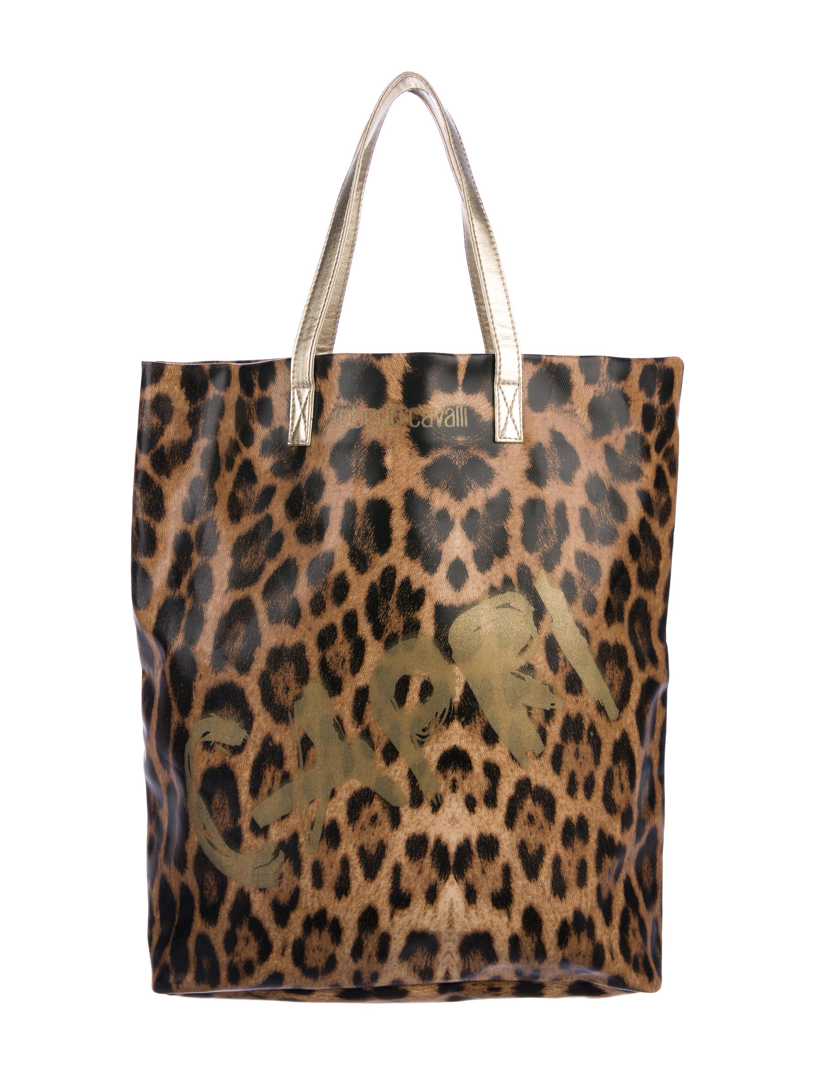 Roberto Cavalli Women S Metallic Leopard Beach Tote Tan