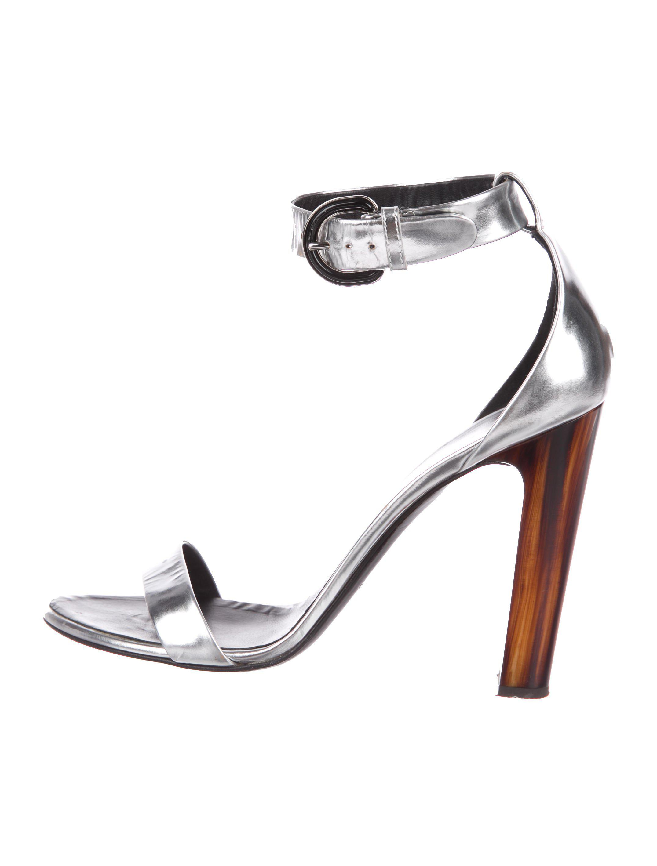 c9aa5ed6b5d Lyst - Proenza Schouler Leather Ankle-strap Sandals Silver in Metallic