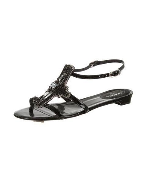 7029d3980d29e Lyst - Chanel Embellished Patent Sandals Black in Metallic