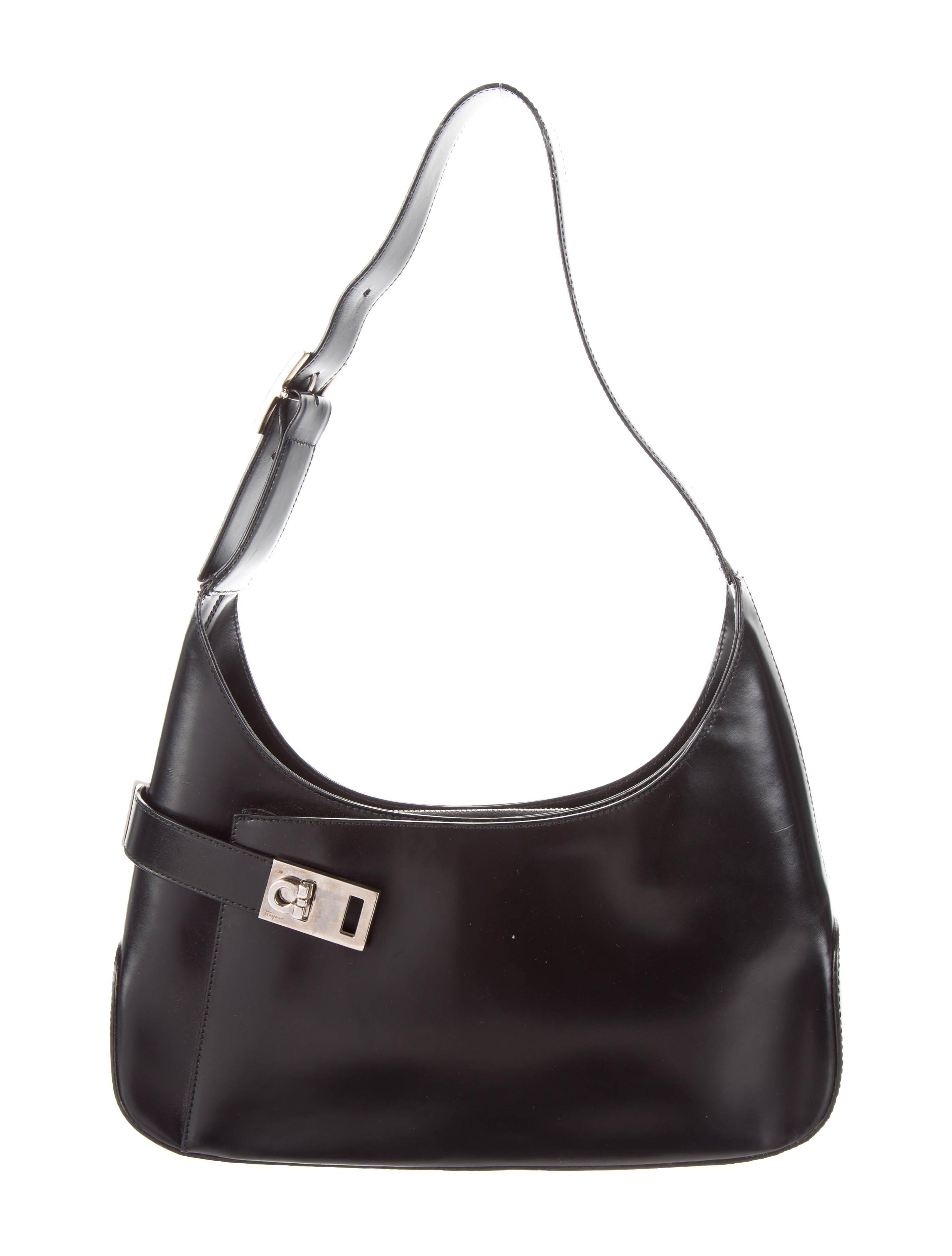 Lyst - Ferragamo Leather Gancini Hobo Black in Metallic 9d5fc2fde8ae9