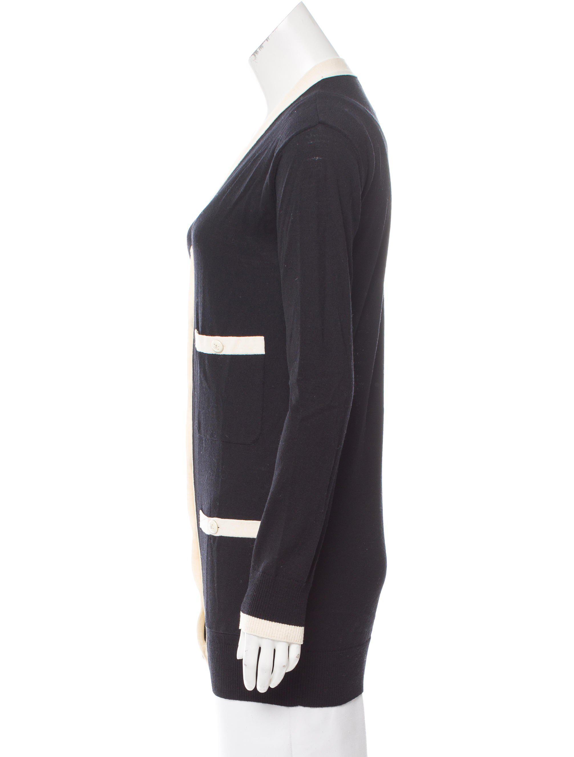 Chanel Longline Wool Cardigan in Black | Lyst
