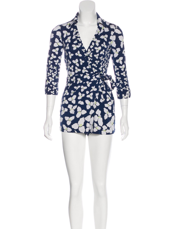 6ca02480369 Lyst - Diane Von Furstenberg Silk Wrap Jumpsuit in Blue
