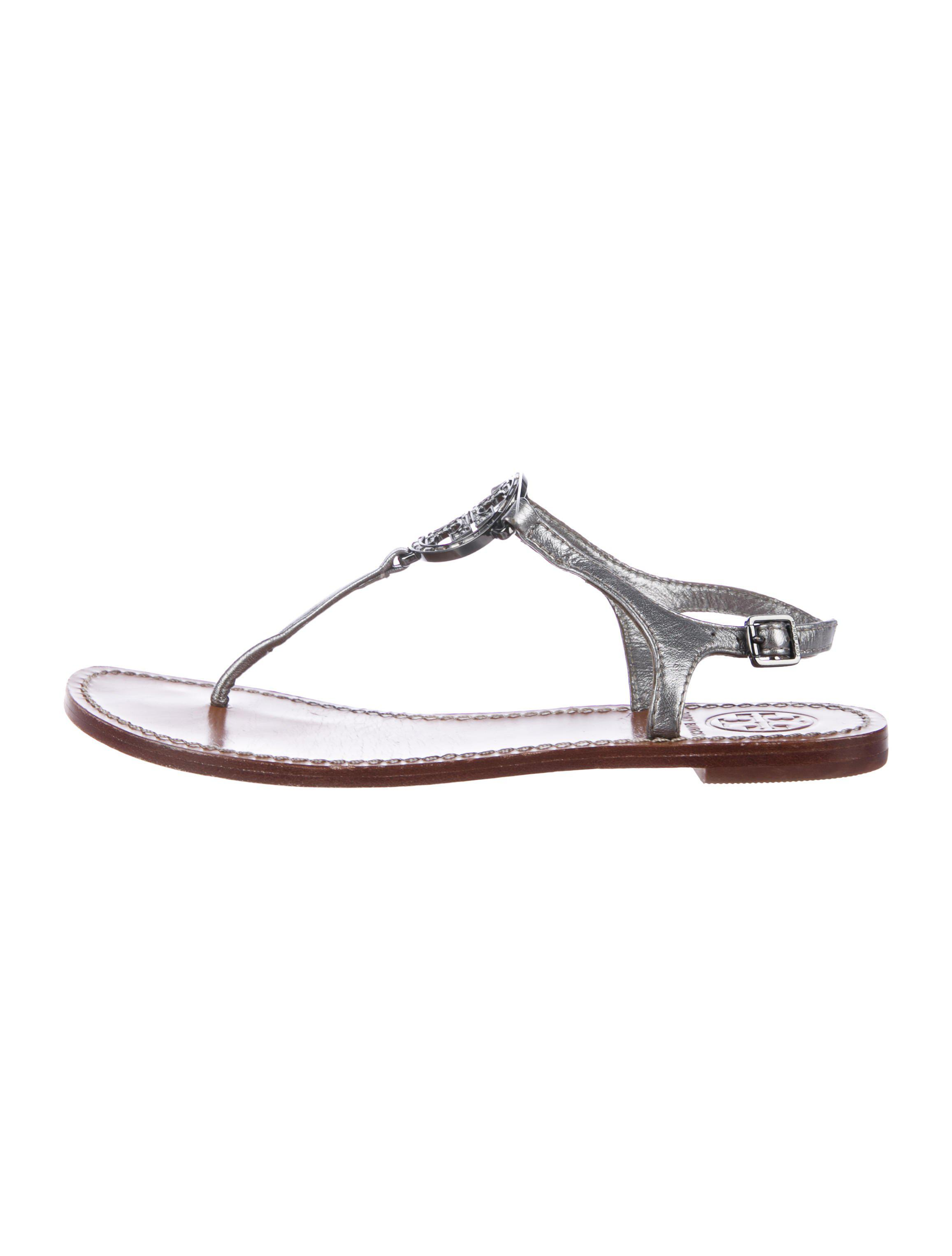 de99125a1b83 Lyst - Tory Burch Leather Logo Thong Sandals Silver in Metallic