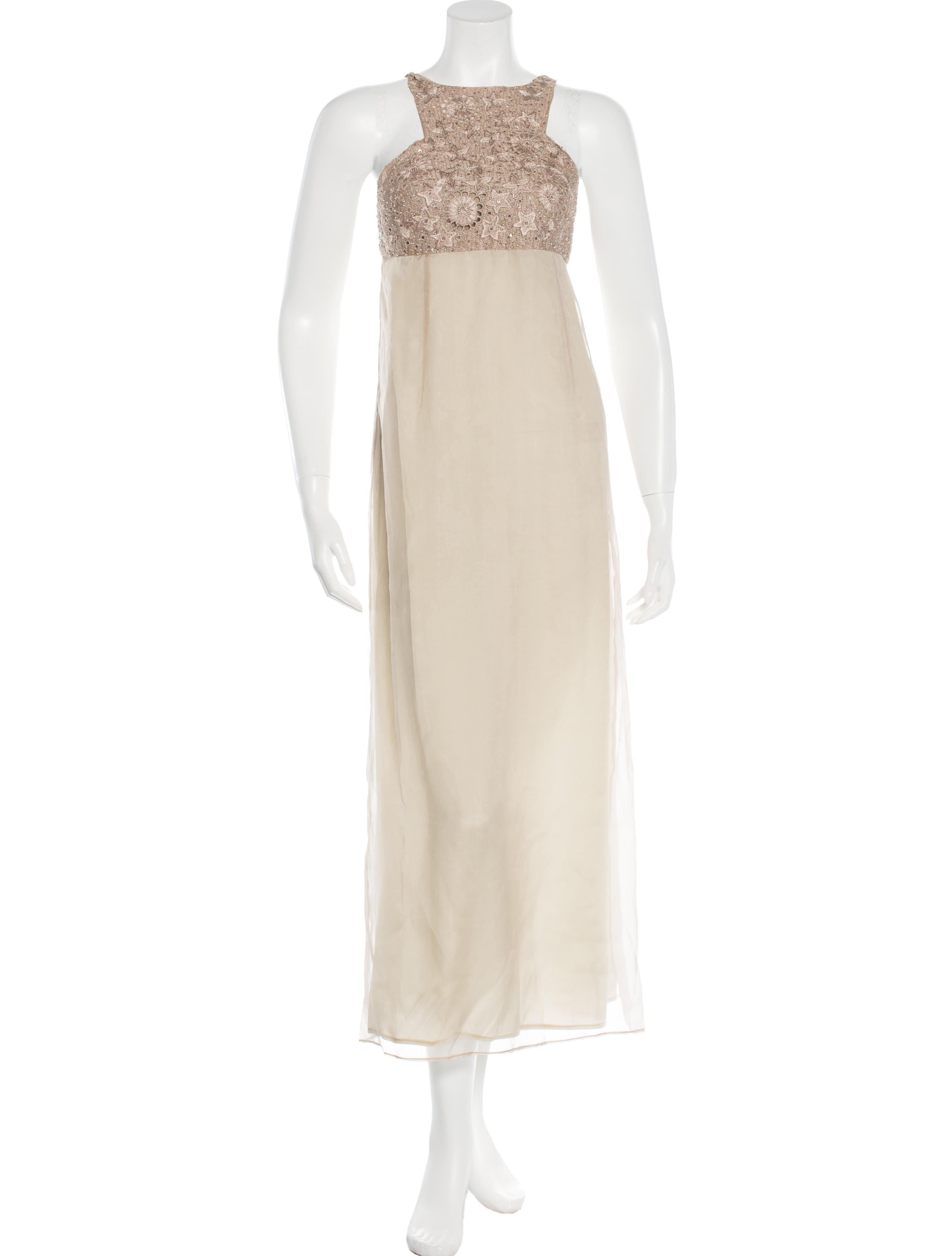 Lyst - Alberta Ferretti Embellished Evening Dress Tan in Natural